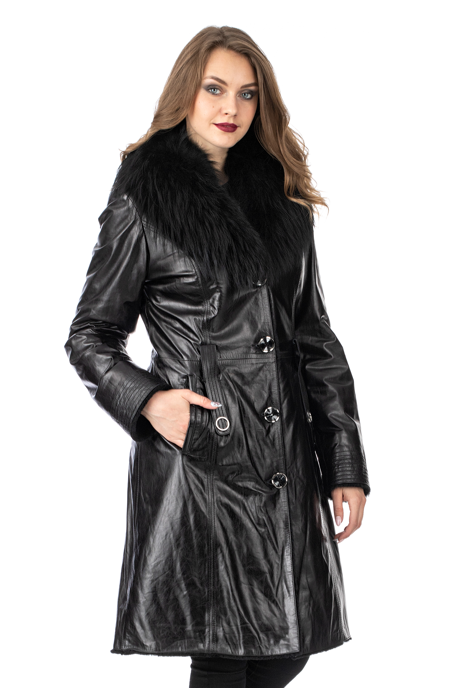Женское кожаное пальто из натуральной кожи на меху с воротником, отделка блюфрост МОСМЕХА