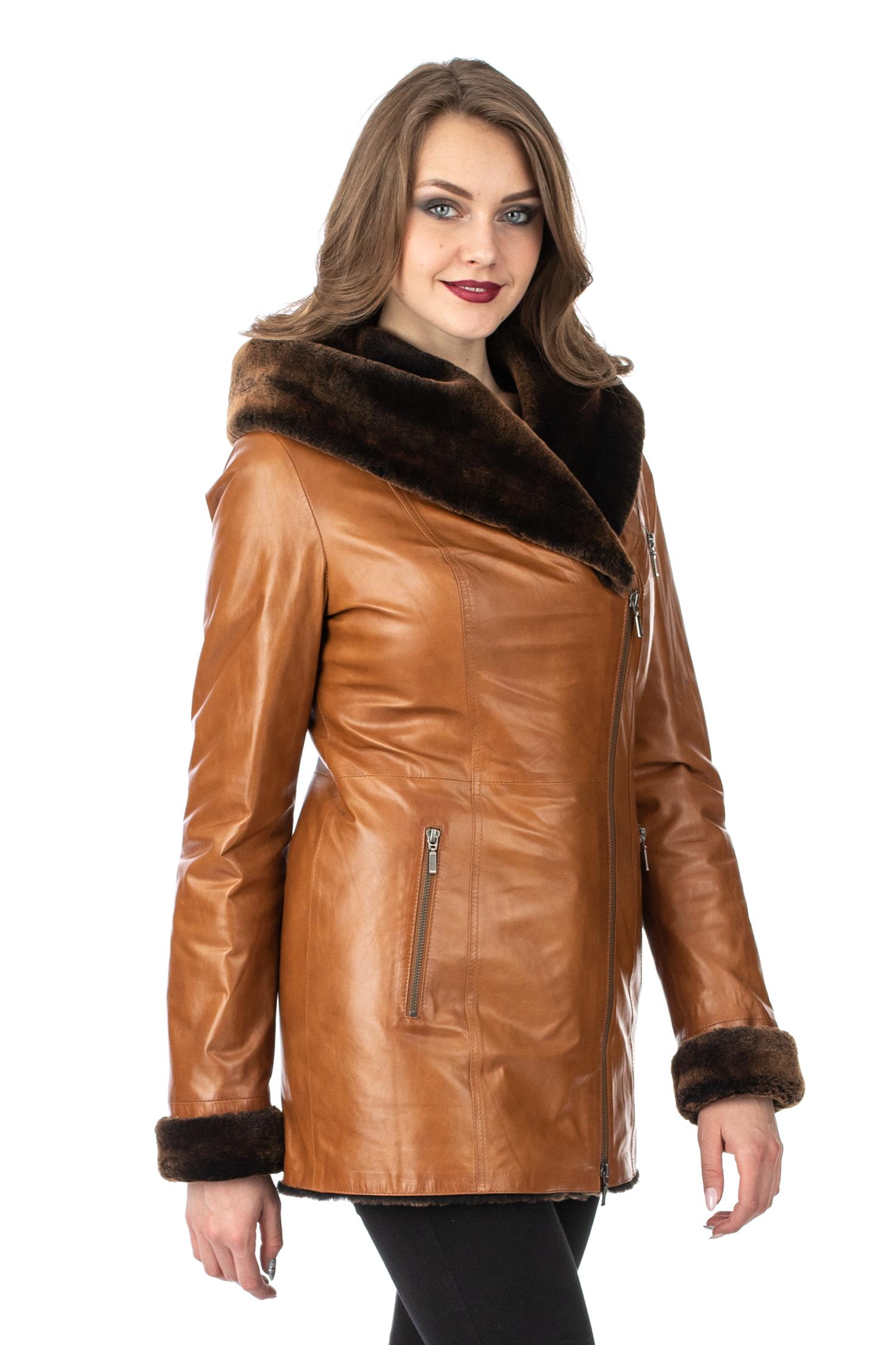 Женское кожаное пальто из натуральной кожи на меху с капюшоном МОСМЕХА