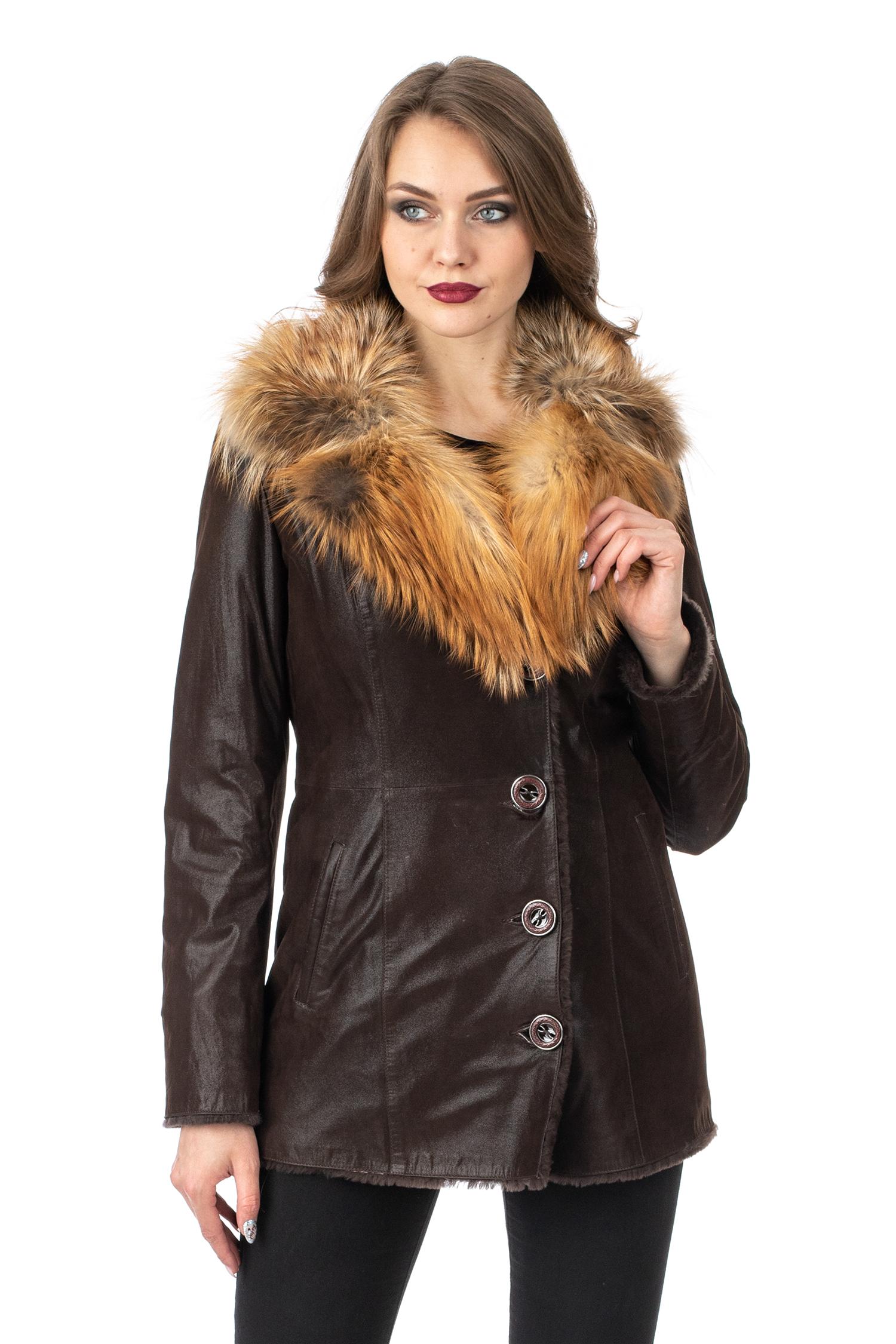 Женское кожаное пальто из натуральной кожи на меху с воротником, отделка лиса МОСМЕХА