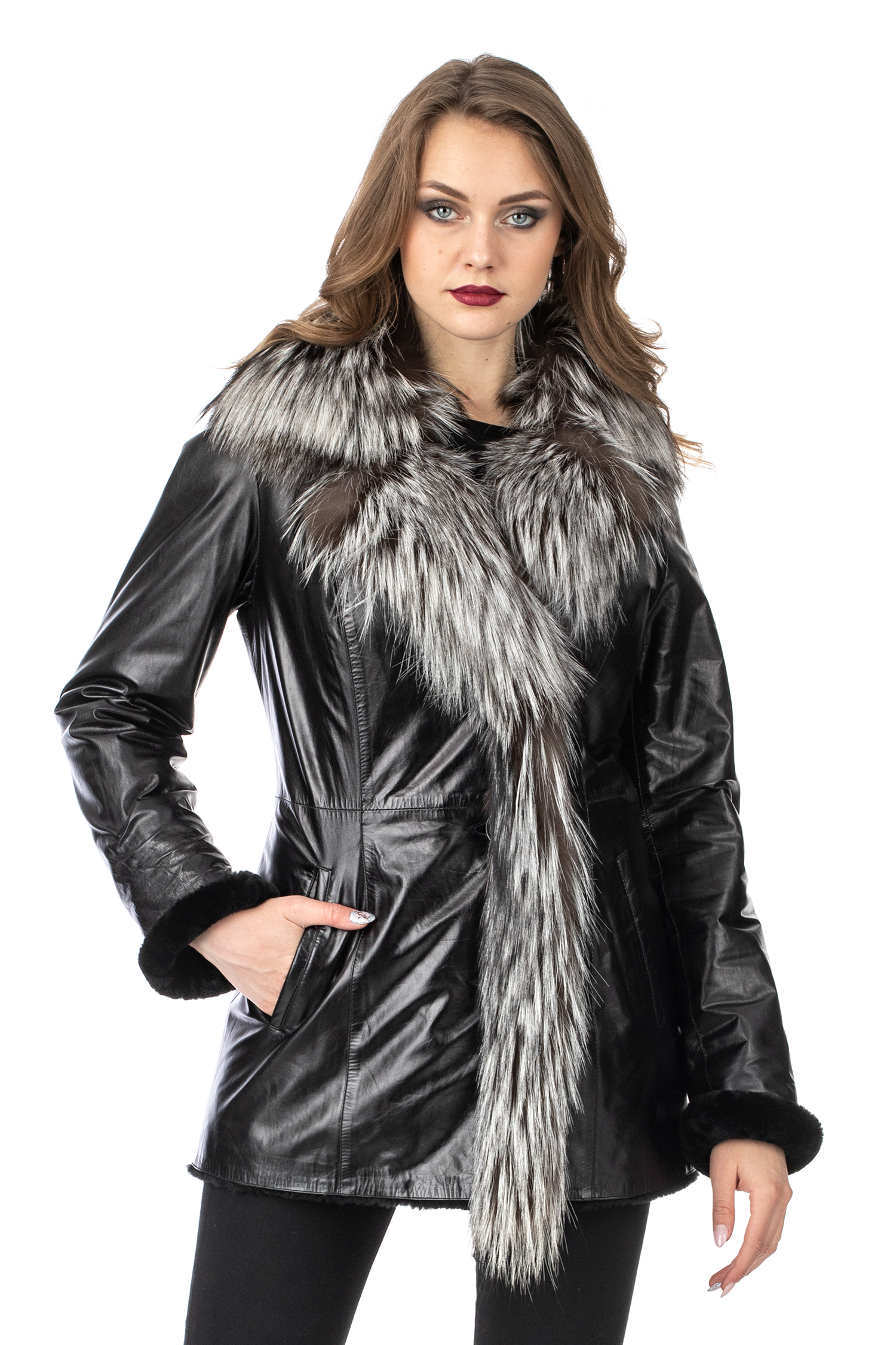 Женская кожаная куртка из натуральной кожи на меху с воротником, отделка лиса