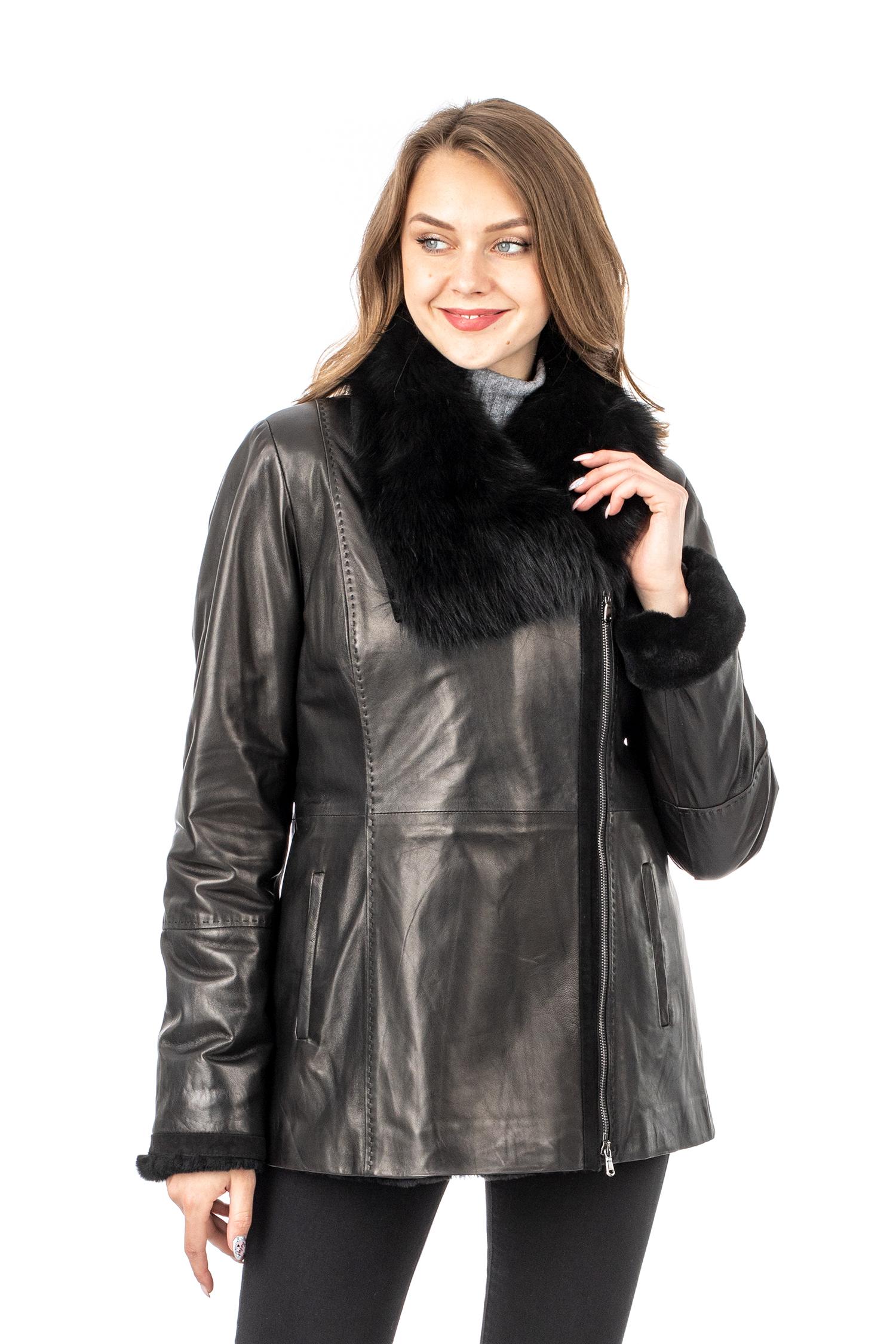 Женское кожаное пальто из натуральной кожи на меху с воротником, отделка тоскана МОСМЕХА