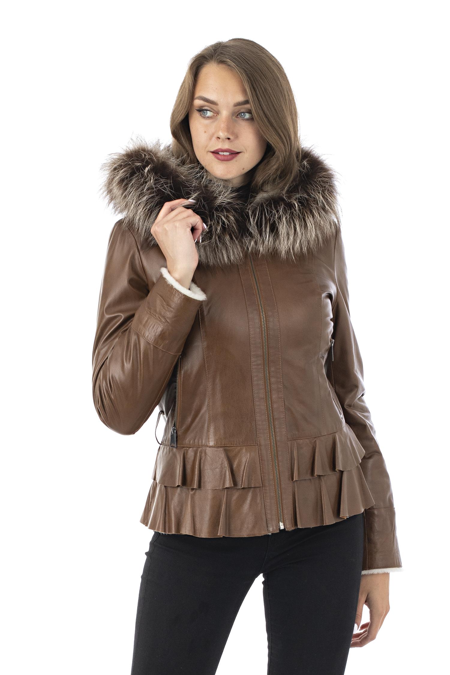 Женская кожаная куртка из натуральной кожи на меху с капюшоном, отделка лиса МОСМЕХА