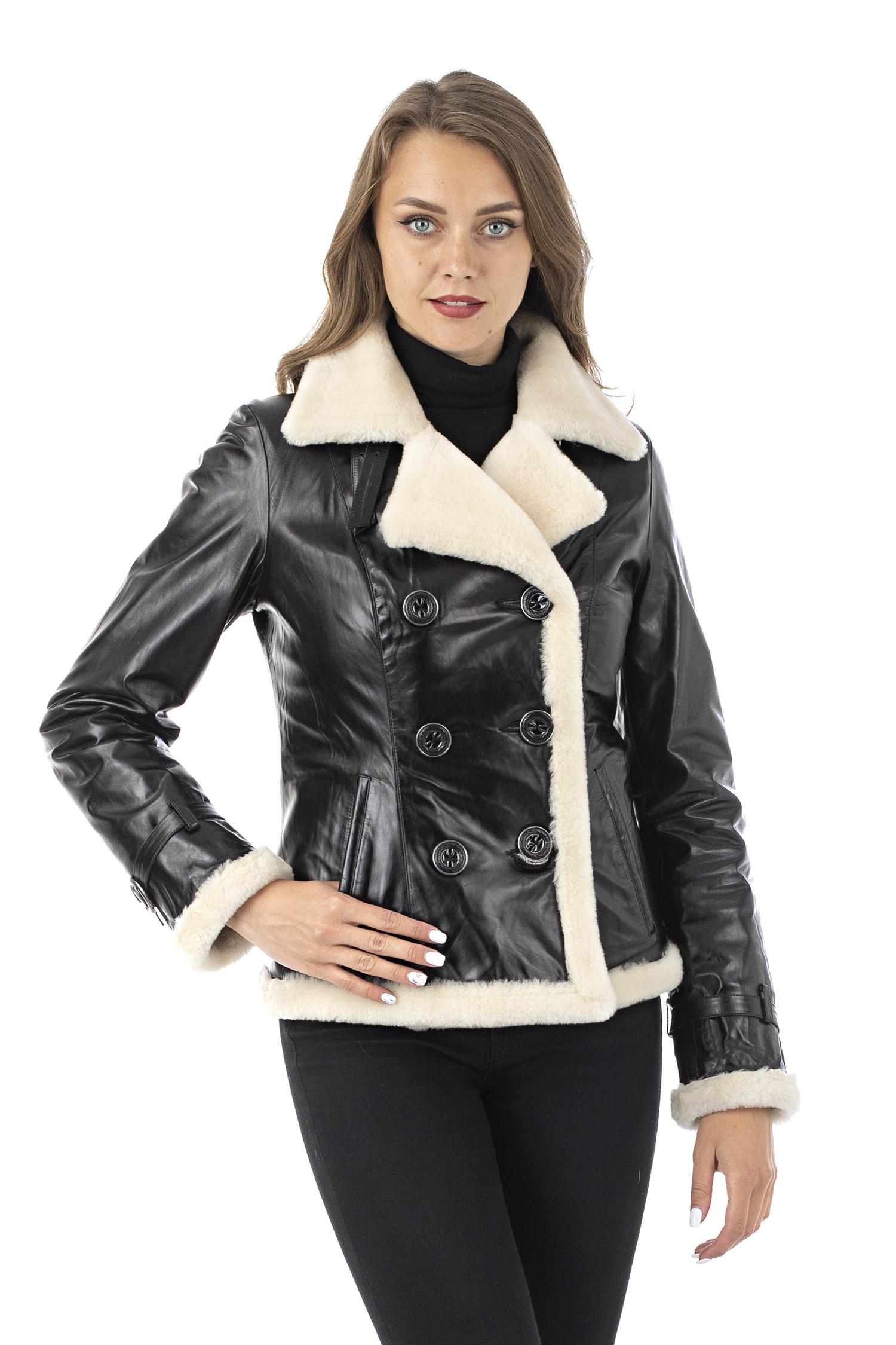 Женская кожаная куртка из натуральной кожи на меху с воротником МОСМЕХА