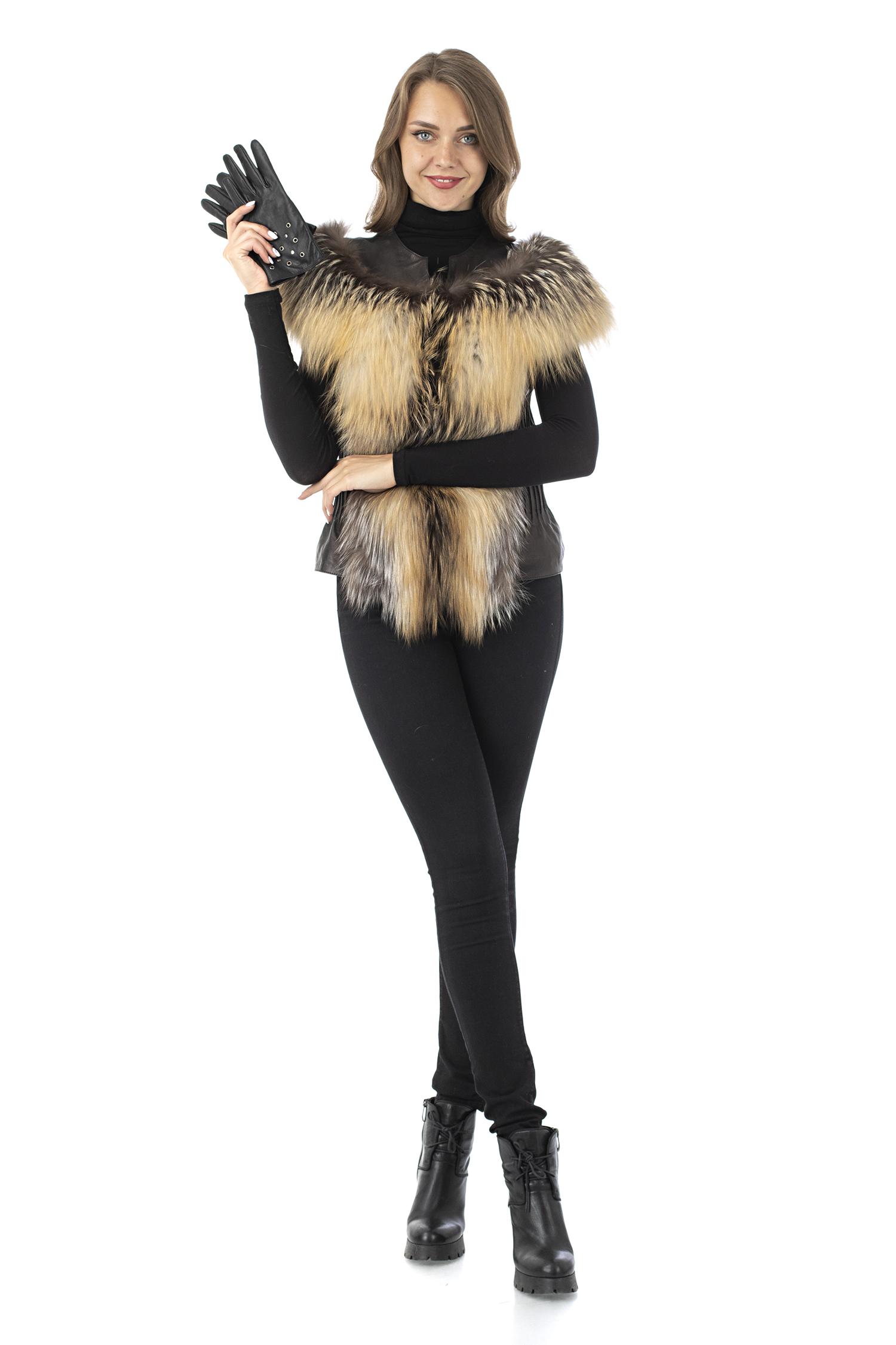 Женская кожаная жилетка из натуральной кожи без воротника, отделка лиса