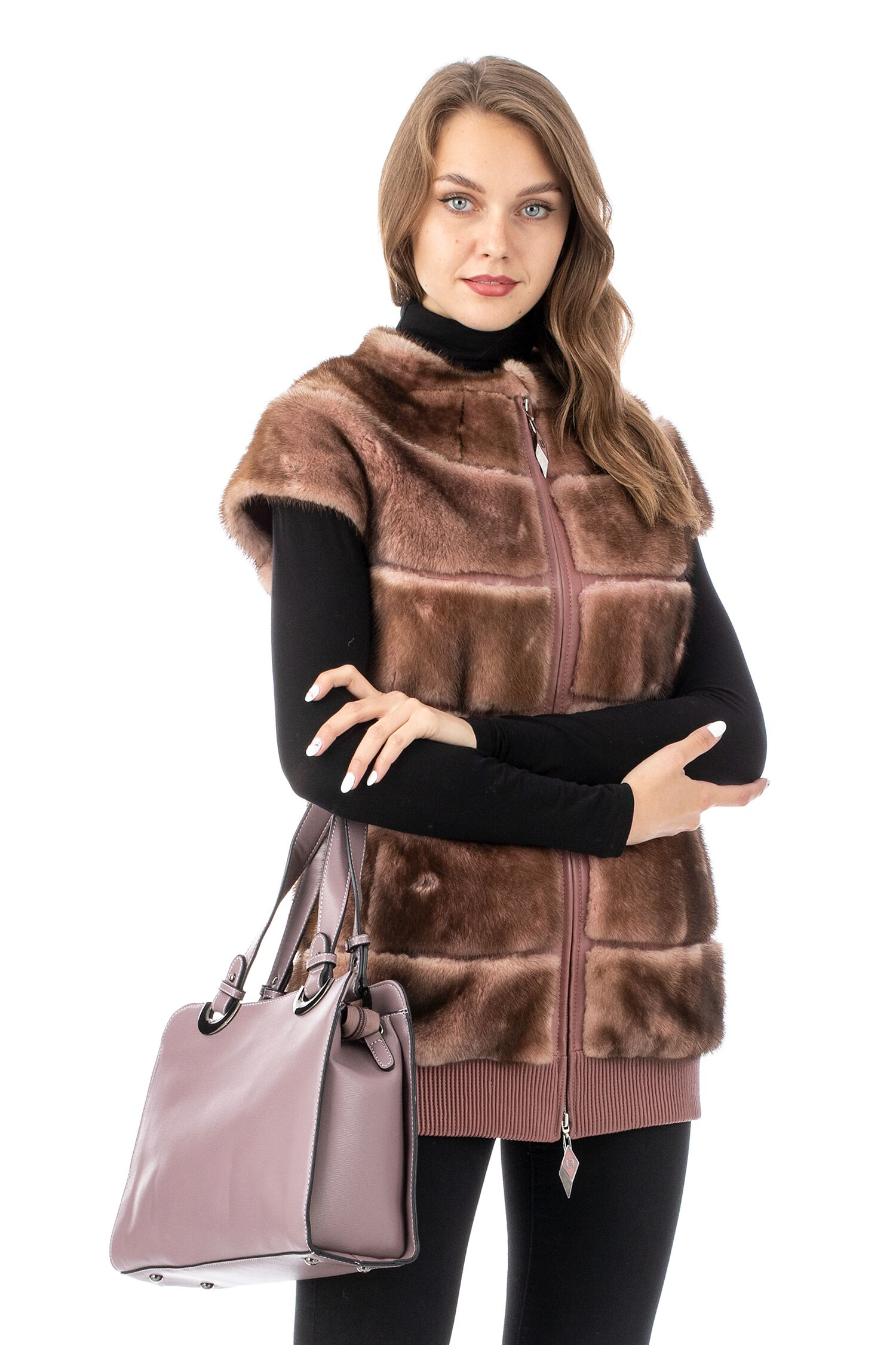 Женская кожаная жилетка из натуральной кожи с воротником, отделка норка МОСМЕХА