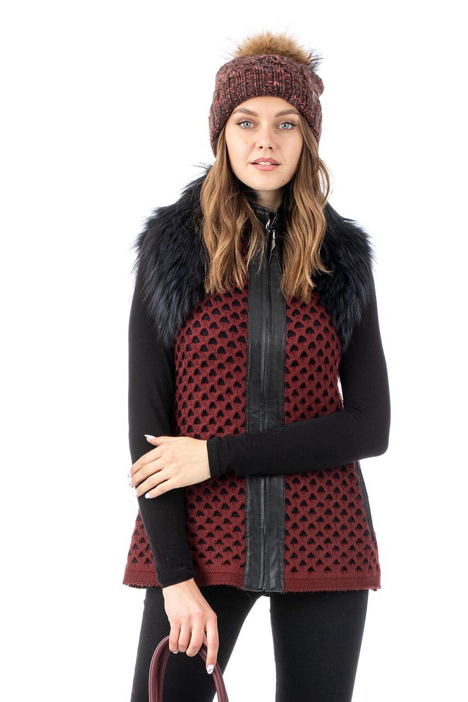 Женская текстильная жилетка с воротником, отделка лиса