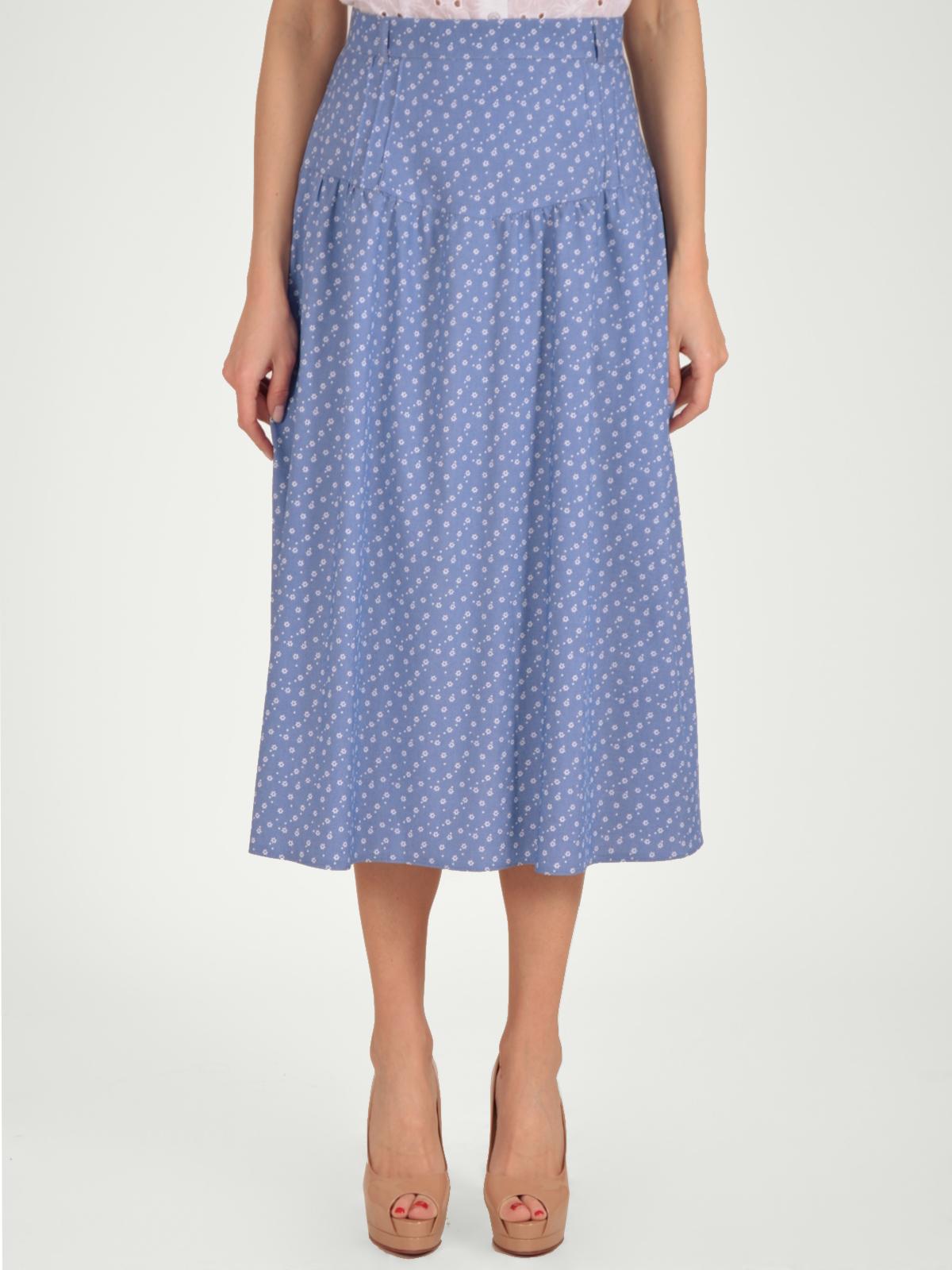 Купить Юбка женская из текстиля, МОСМЕХА, серо-голубой, 5200064
