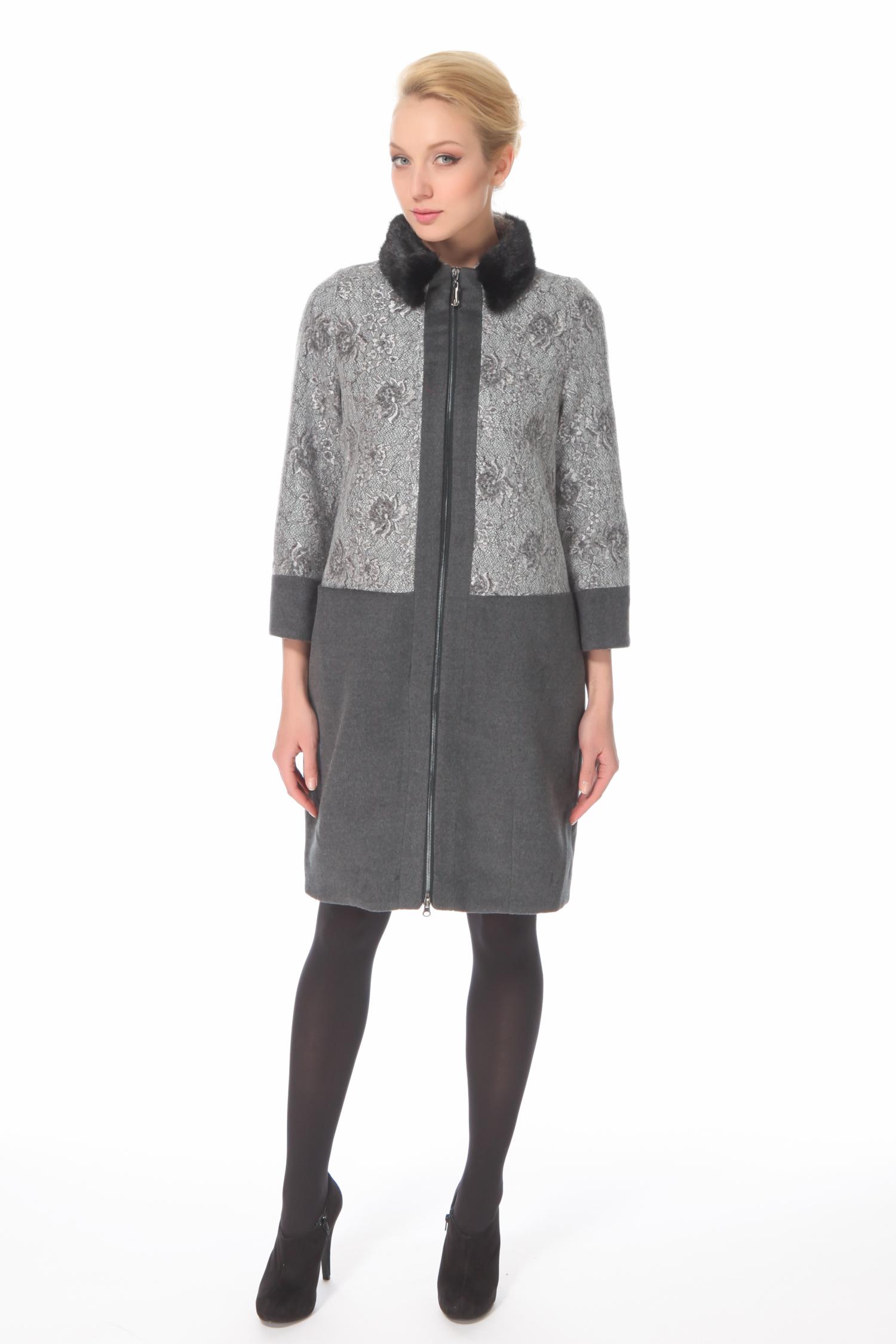 Женское пальто из текстиля с воротником, отделка норка