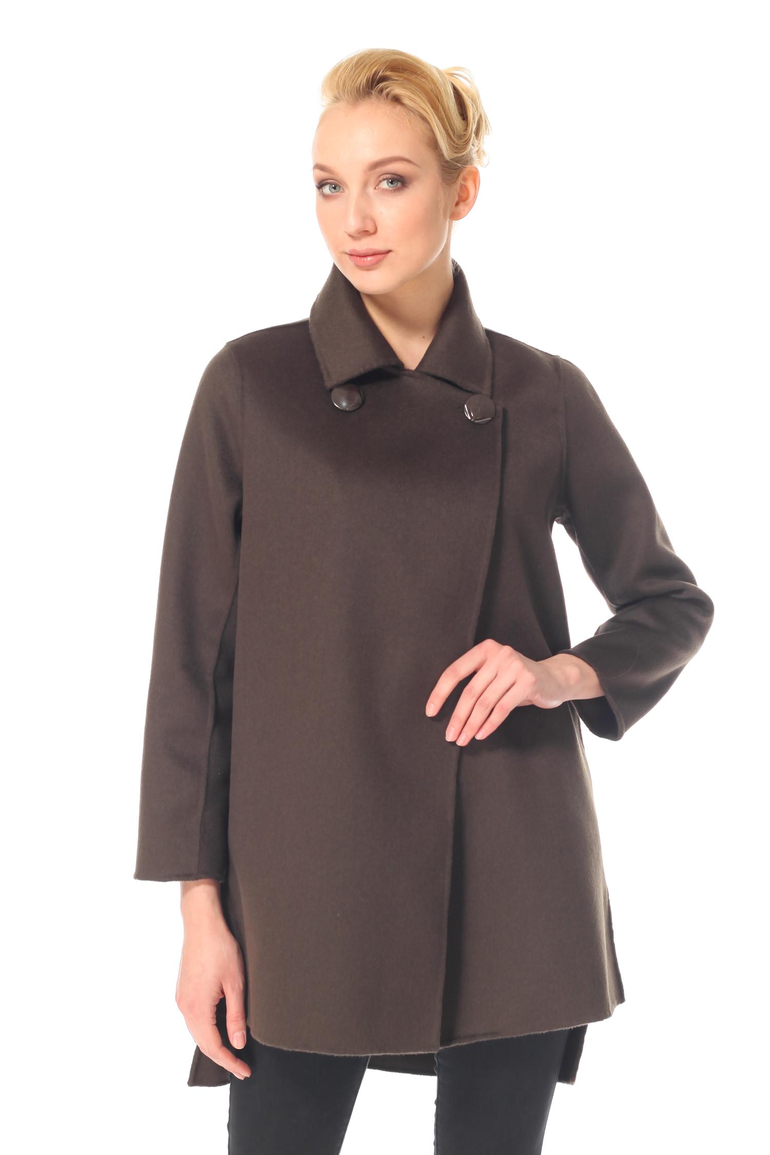 Фото 5 - Женское пальто из текстиля с воротником от МОСМЕХА зеленого цвета