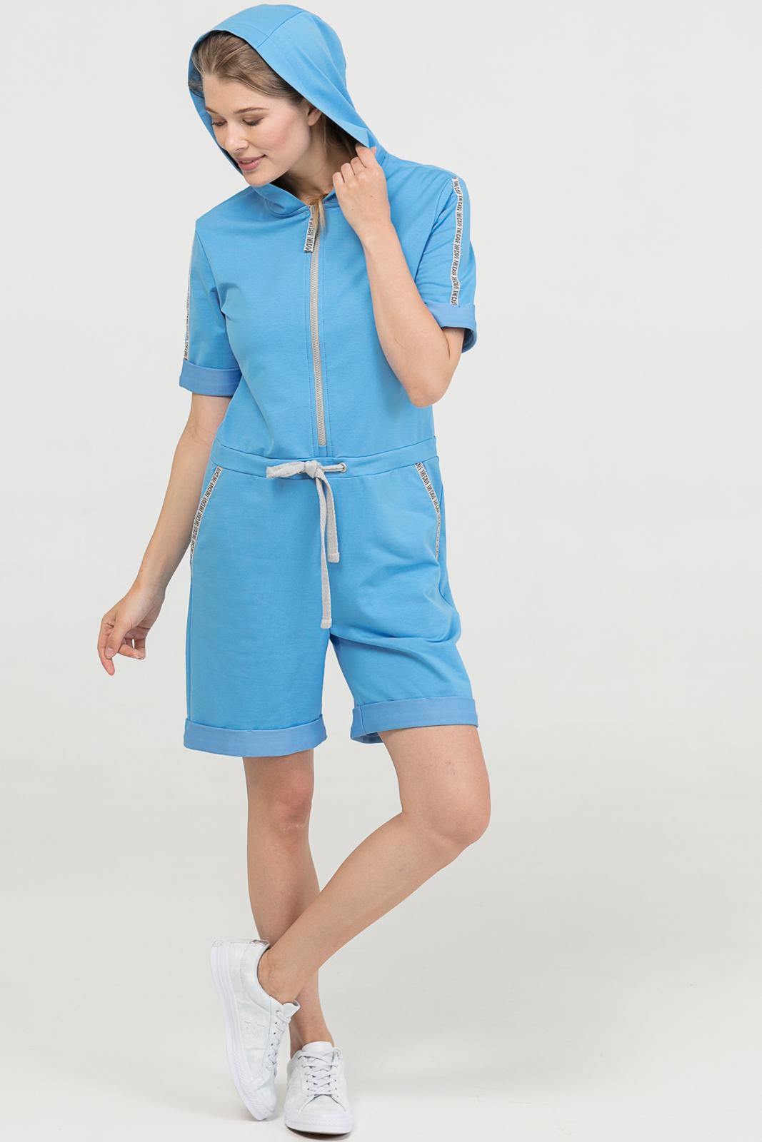 Купить со скидкой Комбинезон Summer голубой женский из текстиля