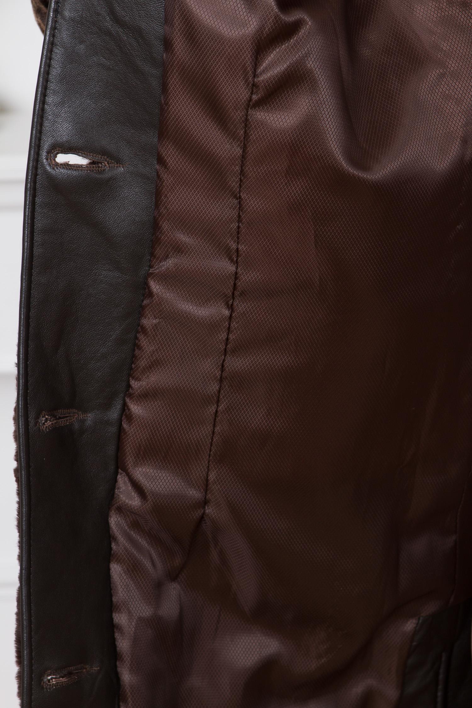 Шуба из мутона с воротником, отделка норка