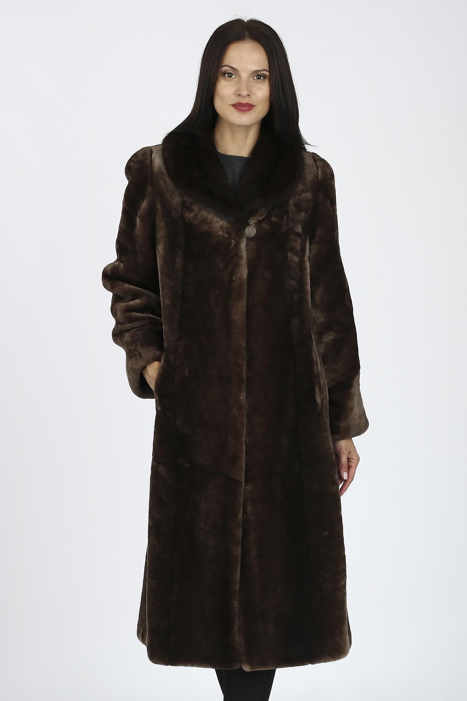 Купить Шуба из мутона с воротником, отделка норка, МОСМЕХА, коричневый, Мутон, 1301319