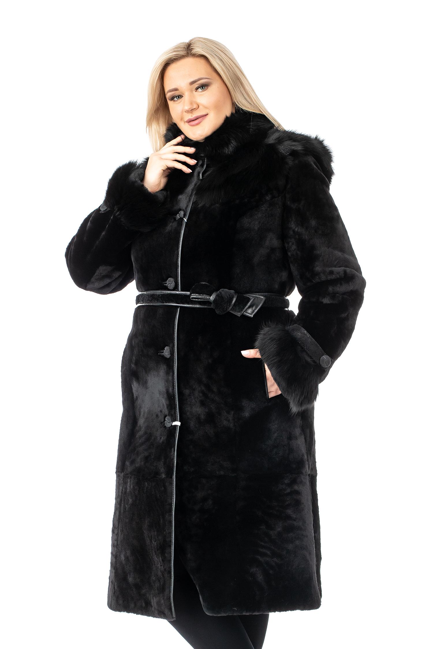 Купить Шуба из мутона с капюшоном, отделка песец, МОСМЕХА, черный, Мутон, 1301466