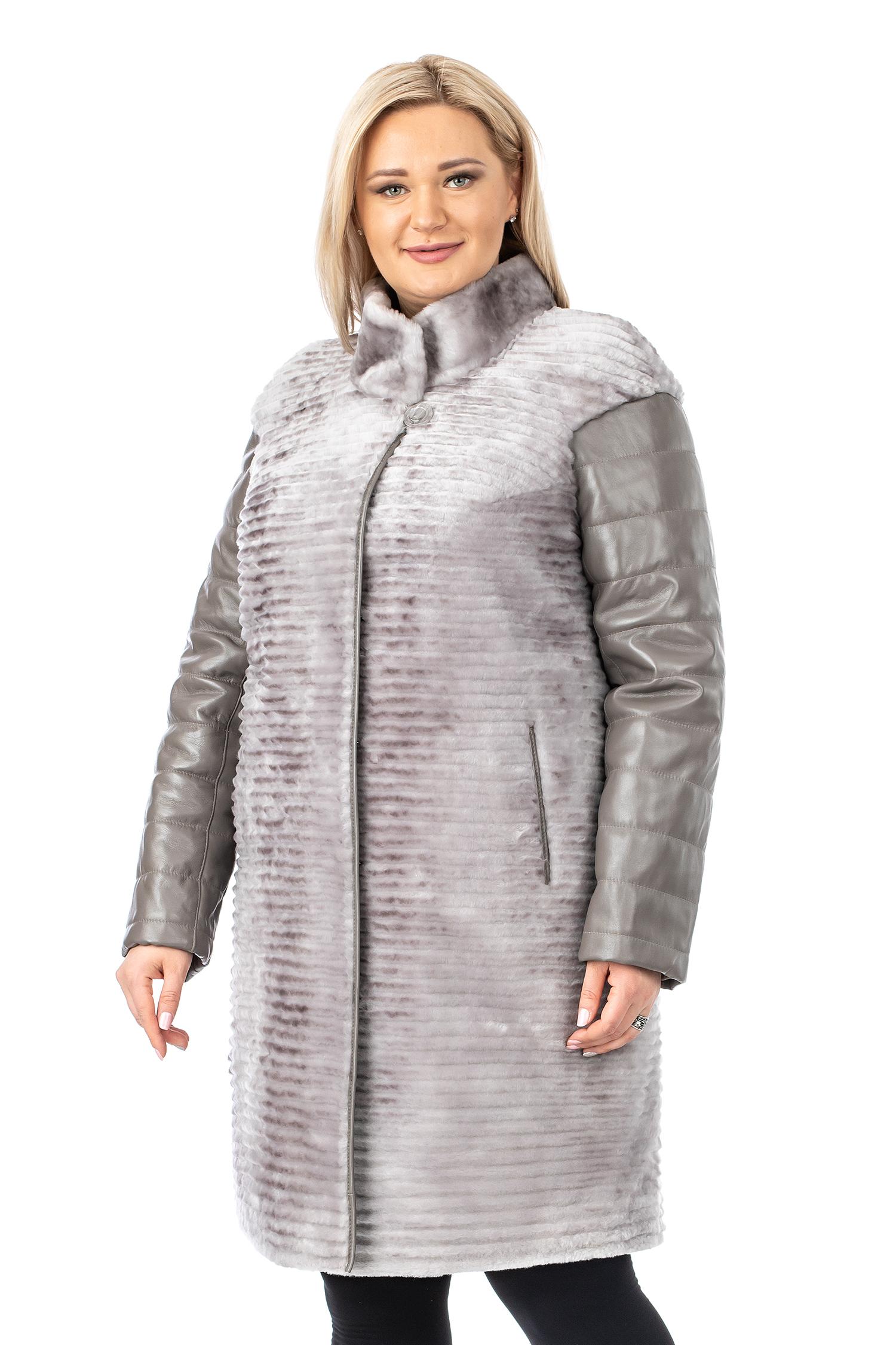 Купить Шуба из мутона с воротником, МОСМЕХА, серый, Мутон, 1301487