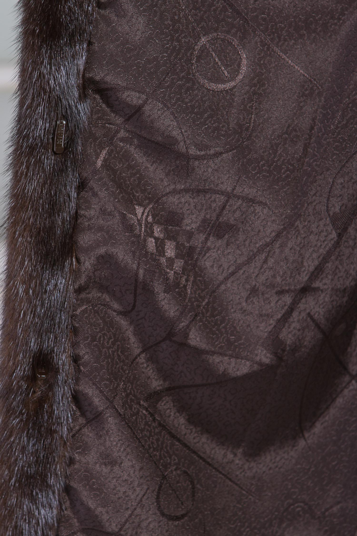 Шуба из норки с капюшоном, без отделки