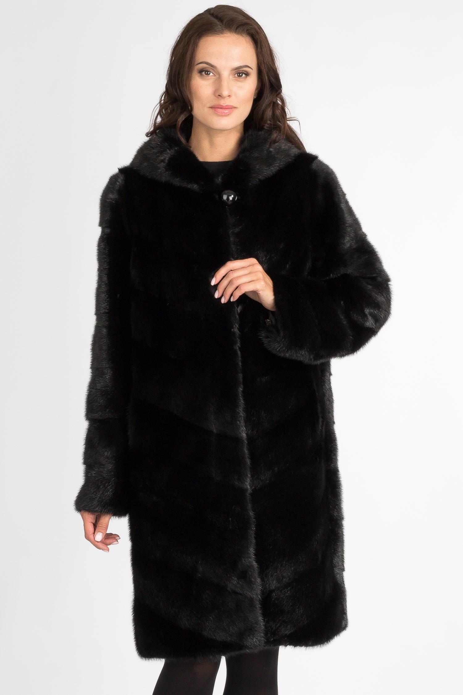 МОСМЕХА пальто из меха норки с отделкой мехом енота