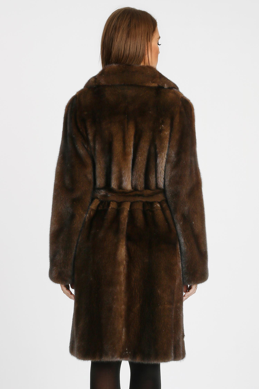 Дубленка женская из натуральной овчины с капюшоном, отделка енот