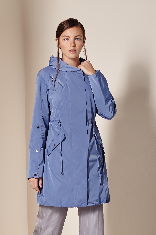 Купить Плащ женский из текстиля с капюшоном, без отделки, МОСМЕХА, голубой, Текстиль, 1000101
