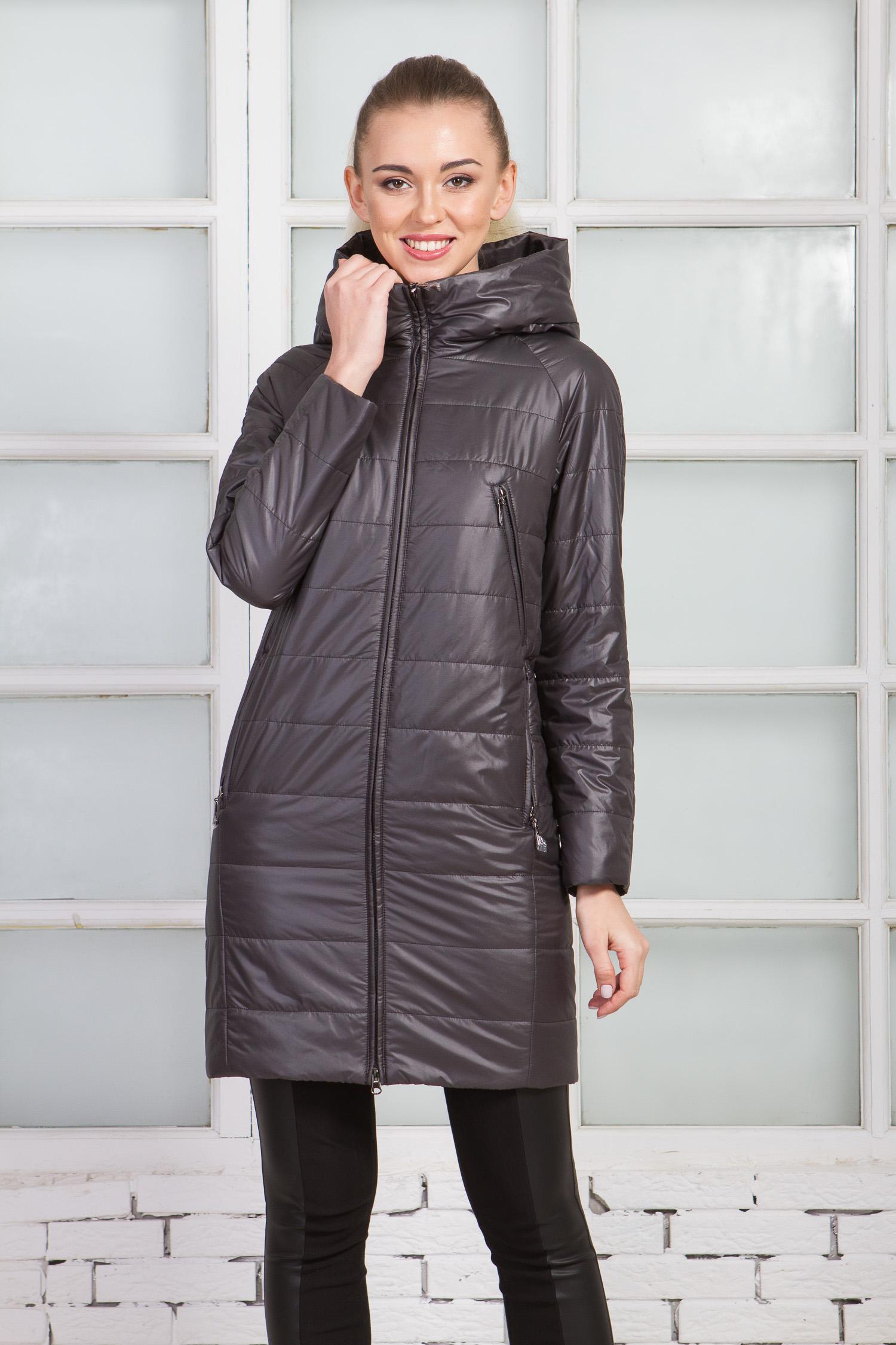 Женское пальто из текстиля с капюшоном, МОСМЕХА