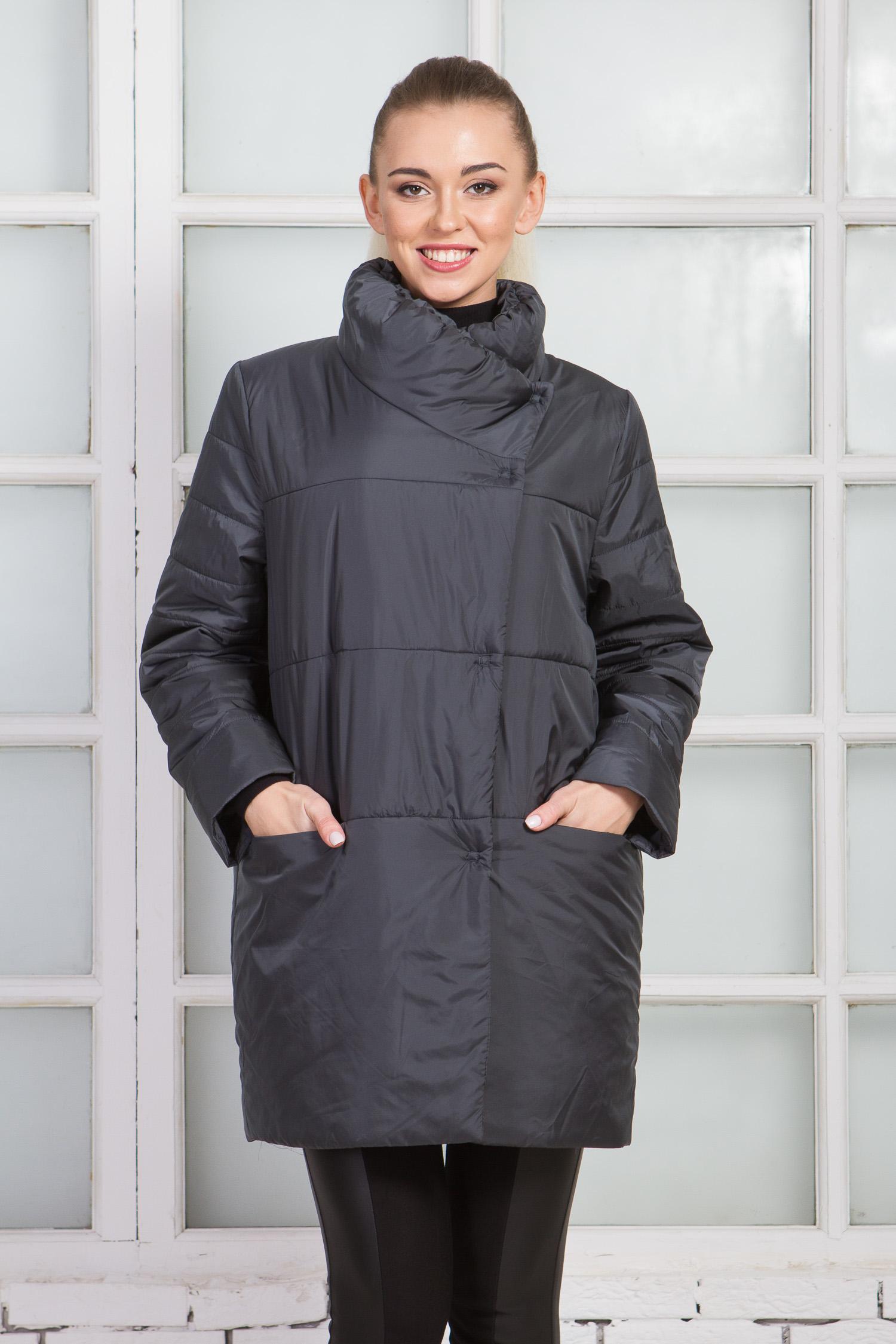 Куртка женская из текстиля с воротником, без отделки