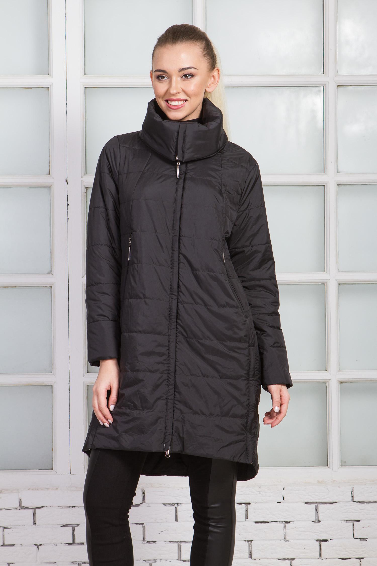 Купить со скидкой Женское пальто из текстиля с воротником, без отделки