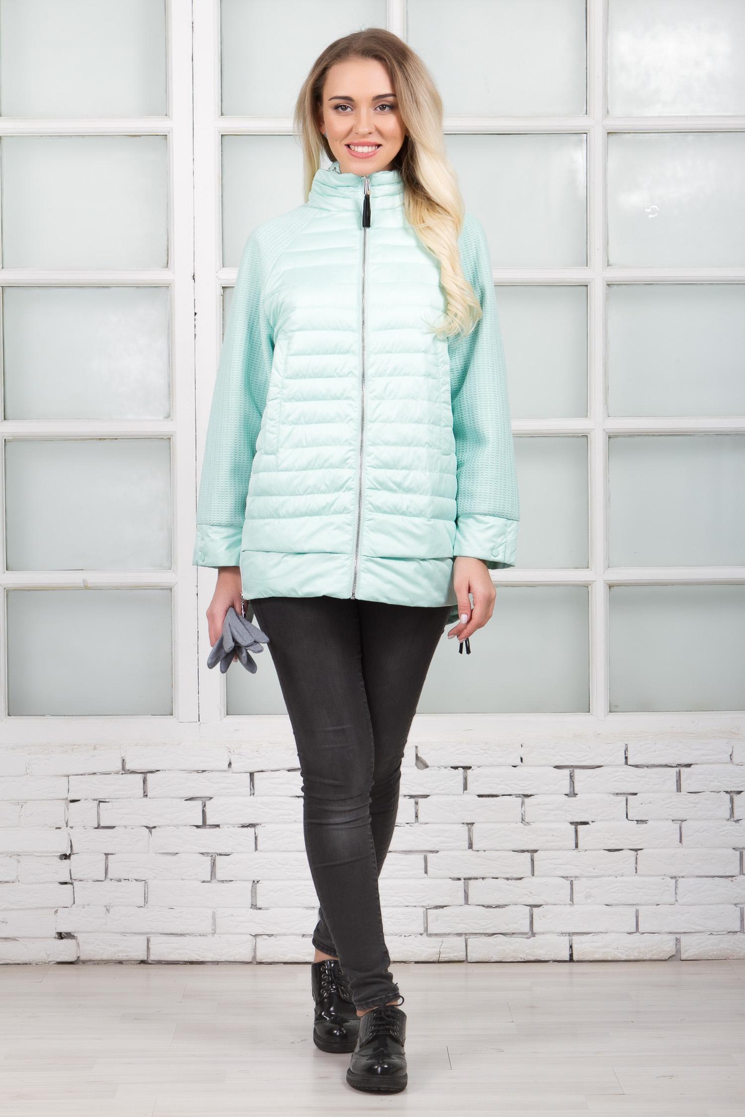 Куртка женская из текстиля с капюшоном, без отделки