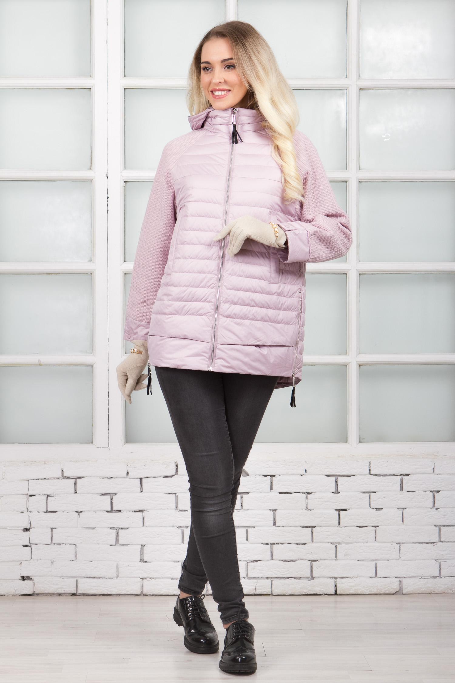 Куртка женская из текстиля с капюшоном, без отделки, , Полупальто