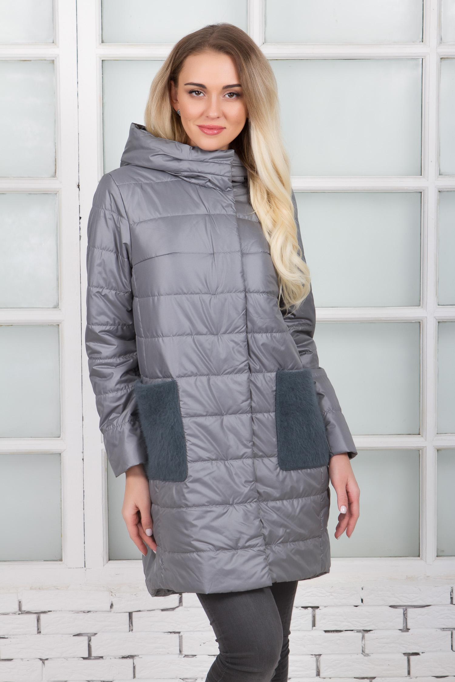 Купить Женское пальто из текстиля с капюшоном, отделка шерсть, МОСМЕХА, серый, Текстиль, 1000424