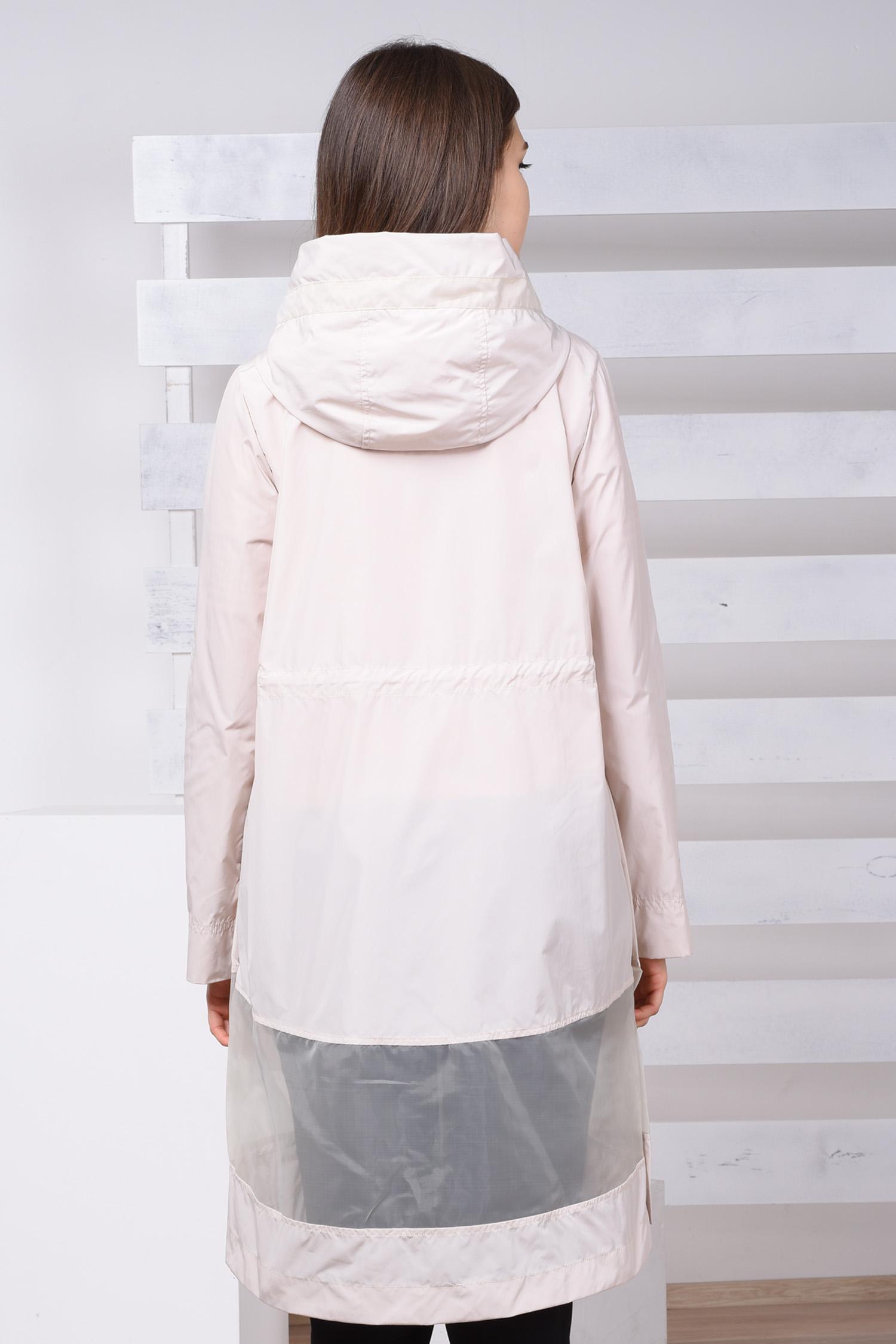 Плащ женский из текстиля с капюшоном, без отделки