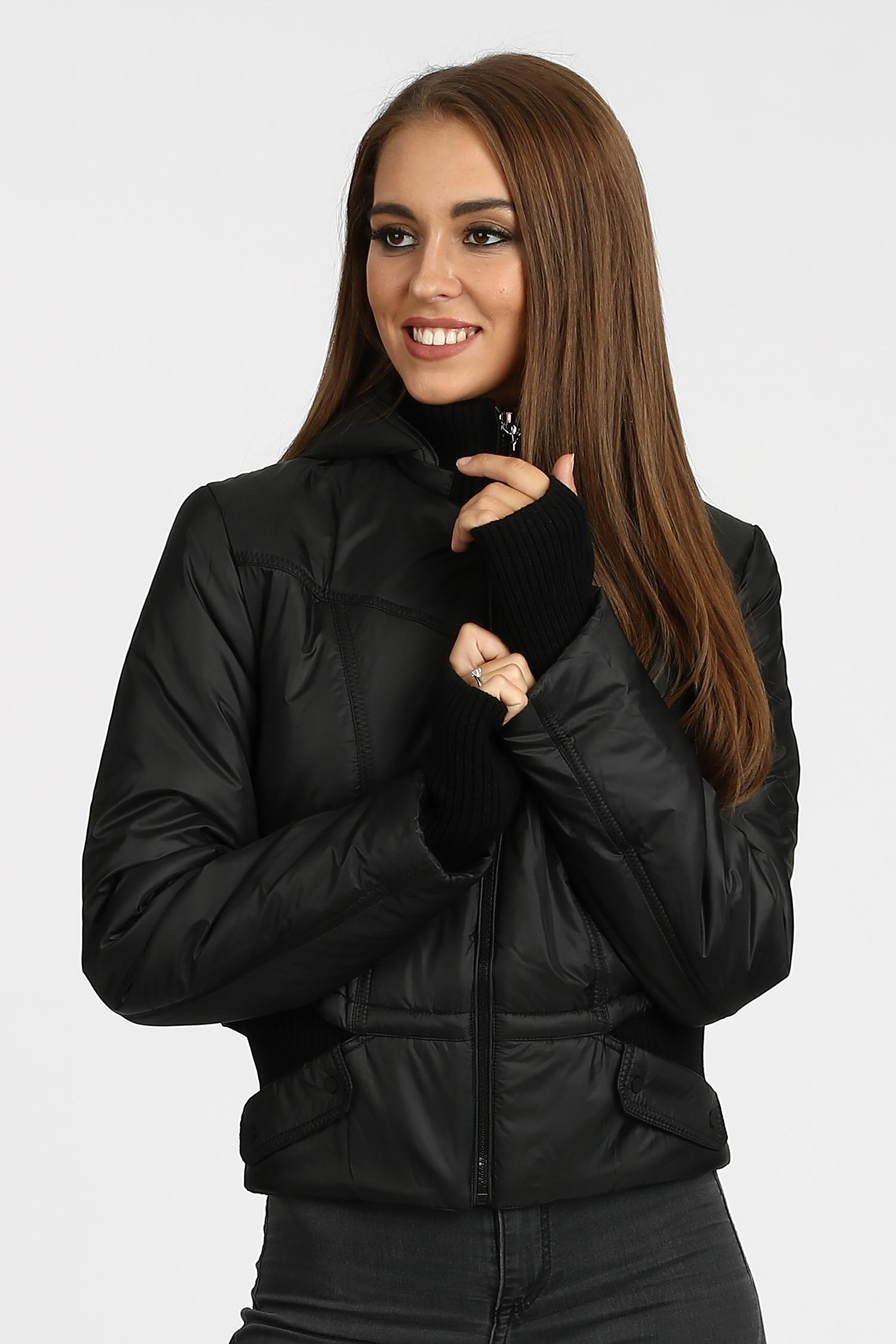 Купить Куртка женская из текстиля с капюшоном, без отделки, МОСМЕХА, черный, Текстиль, 1000950
