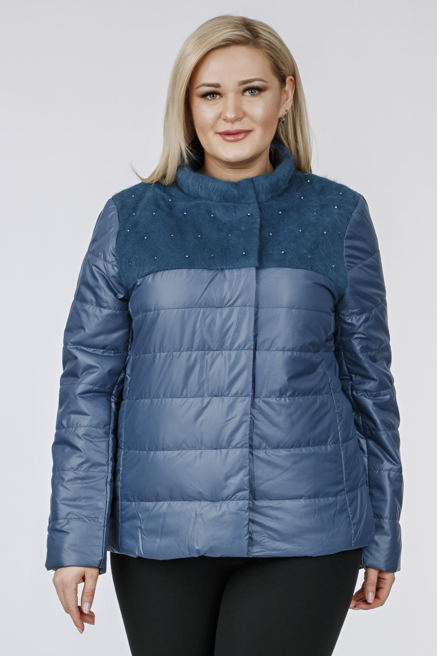Купить Куртка женская из текстиля с воротником, без отделки, МОСМЕХА, серо-голубой, Текстиль, 1001196