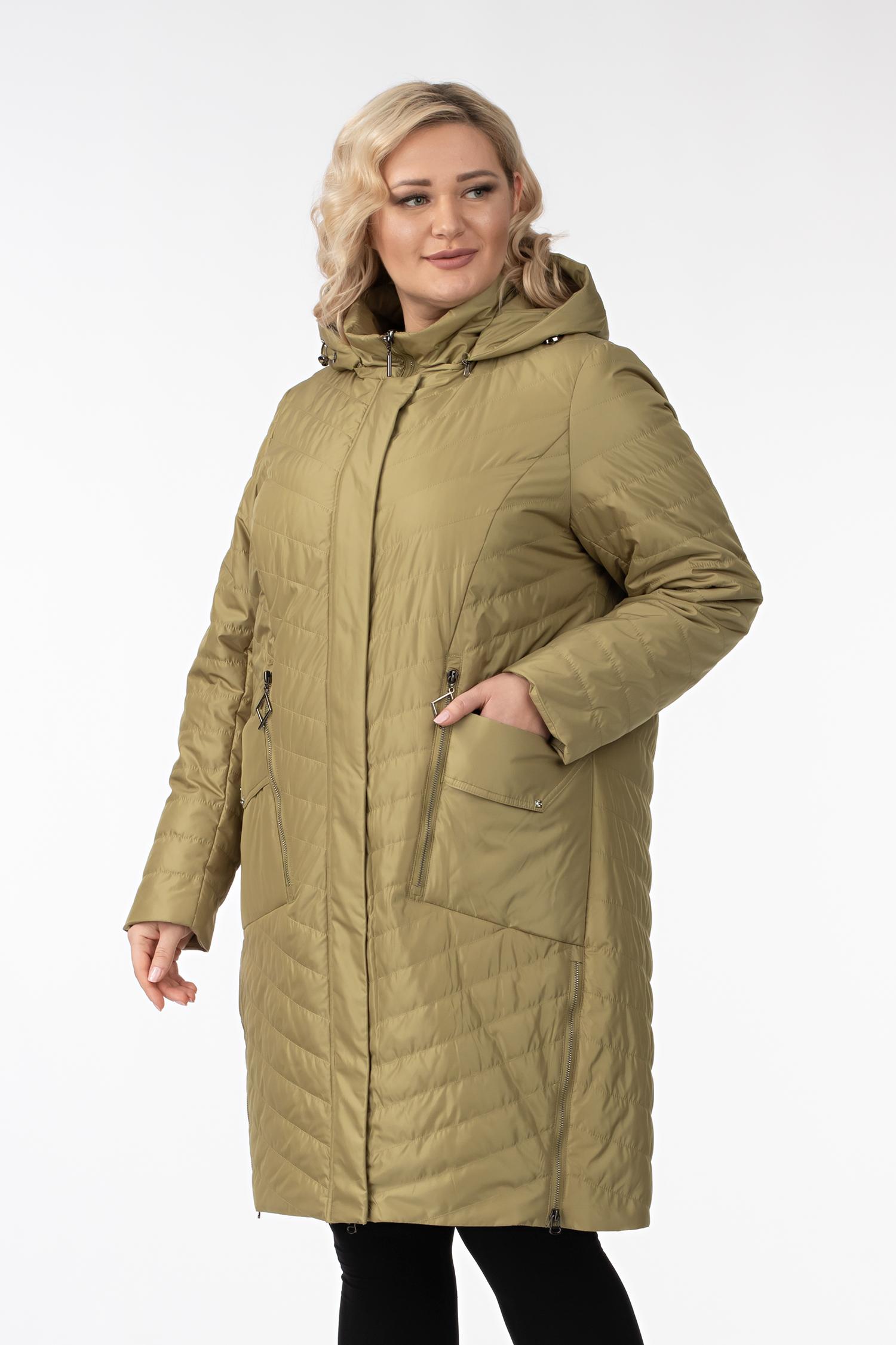 Женское пальто из текстиля с капюшоном, без отделки МОСМЕХА