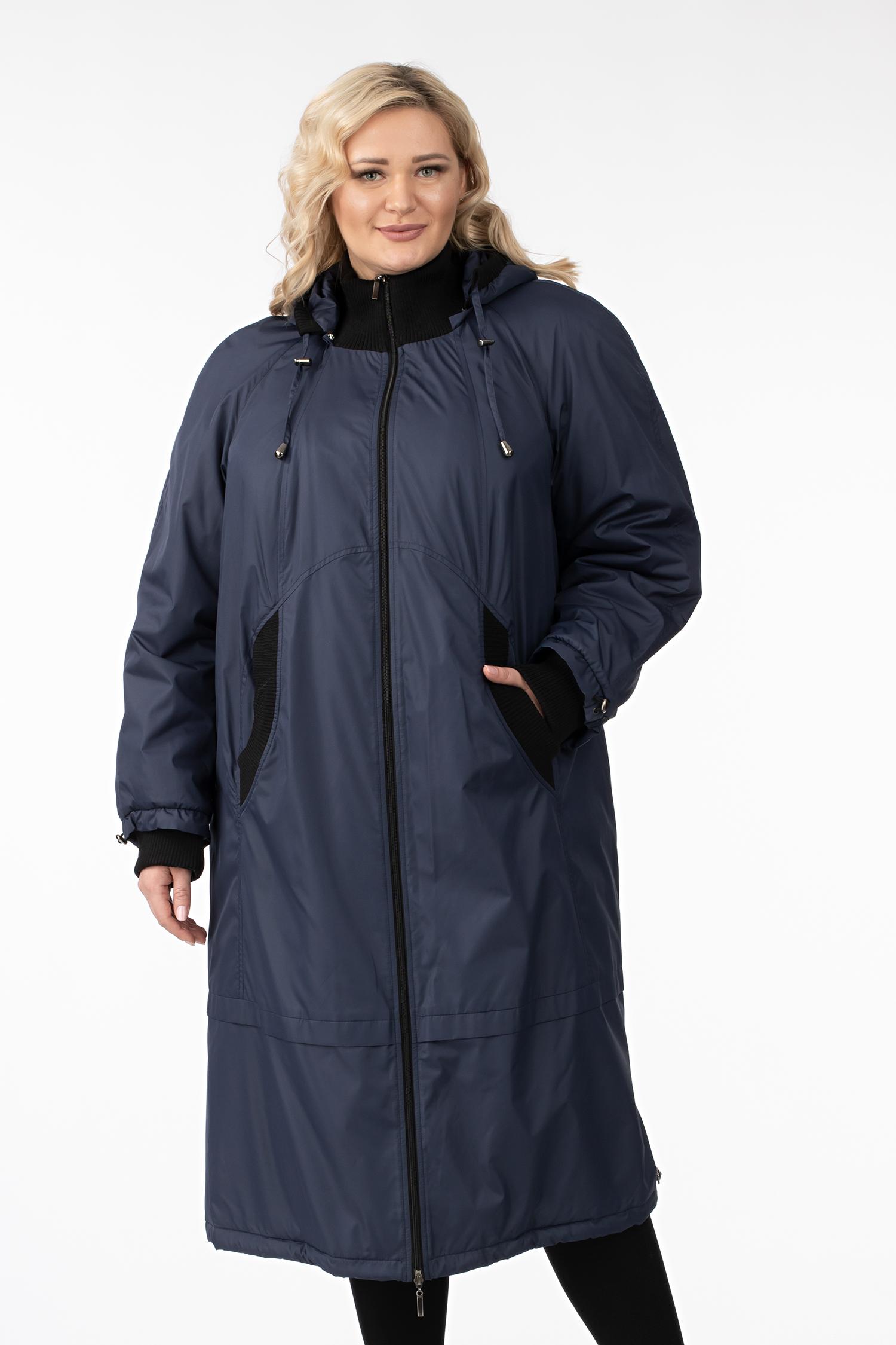 Женское пальто из текстиля с капюшоном, без отделки