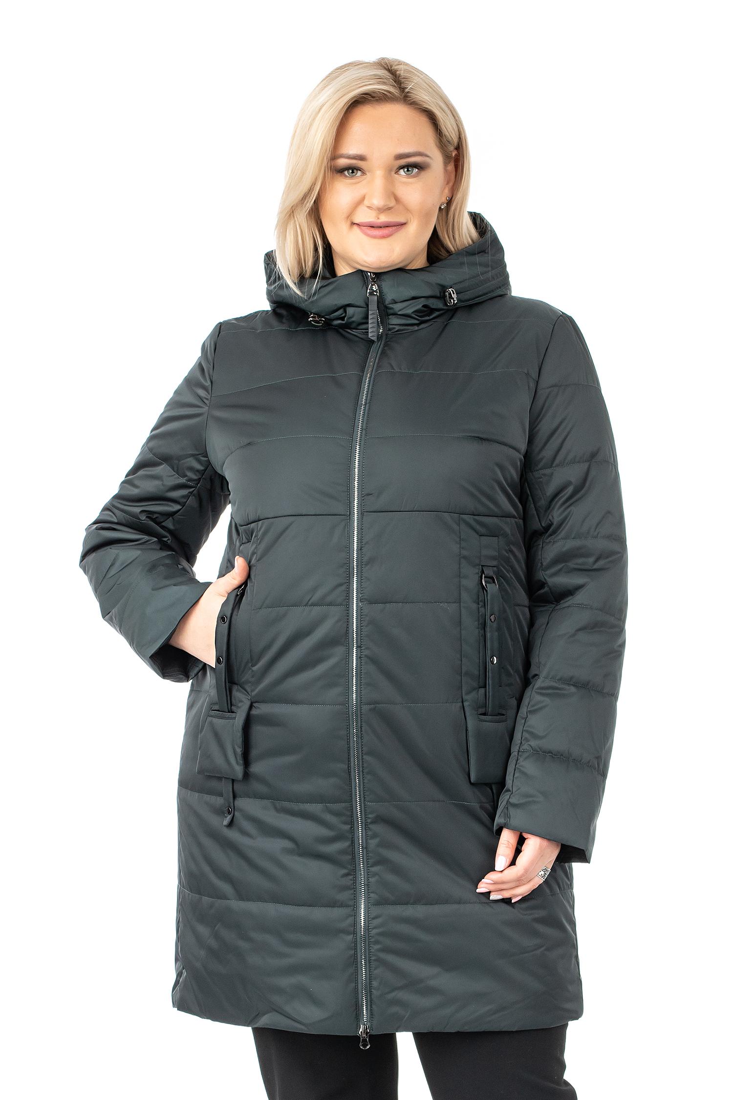 Женское пальто из текстиля с капюшоном