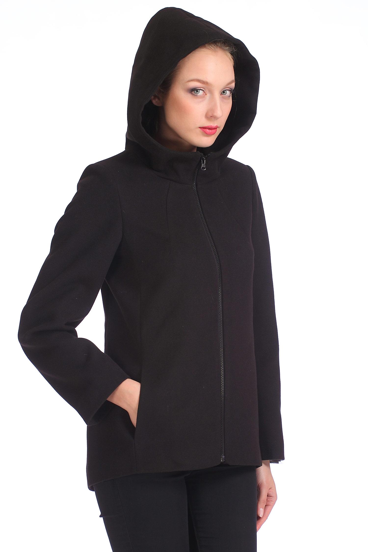 Женское пальто из текстиля с капюшоном, без отделки от МОСМЕХА