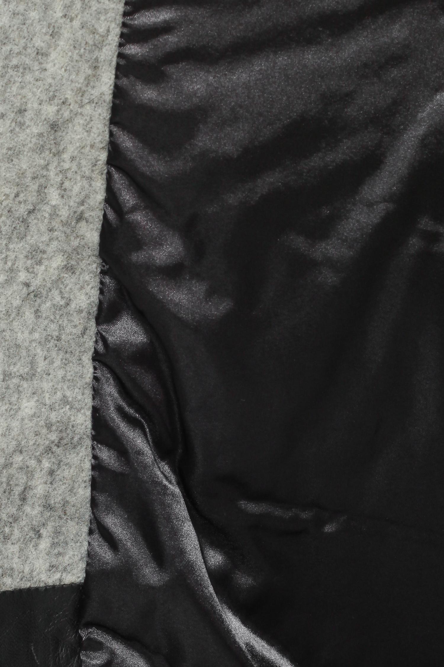 Женское пальто из текстиля с воротником, отделка норка и натуральная кожа