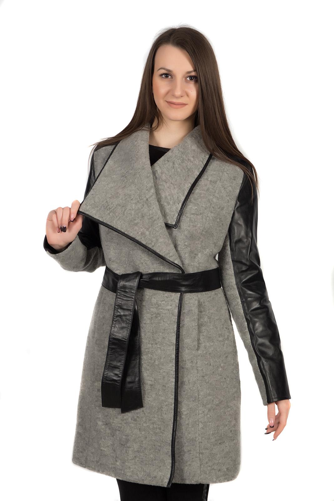 Женское пальто из текстиля с воротником, без отделки от МОСМЕХА