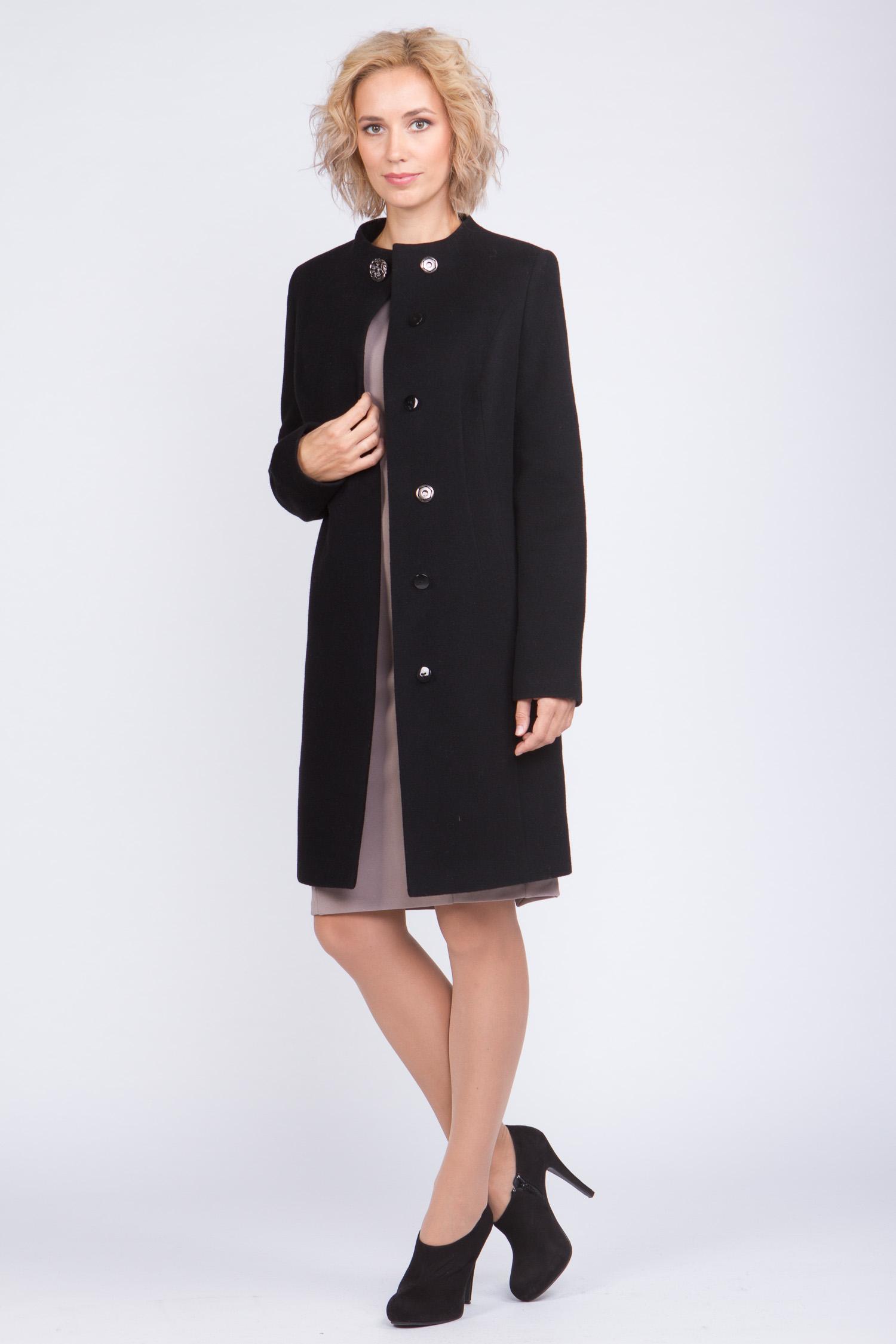 Женское пальто из текстиля без воротника, без отделки