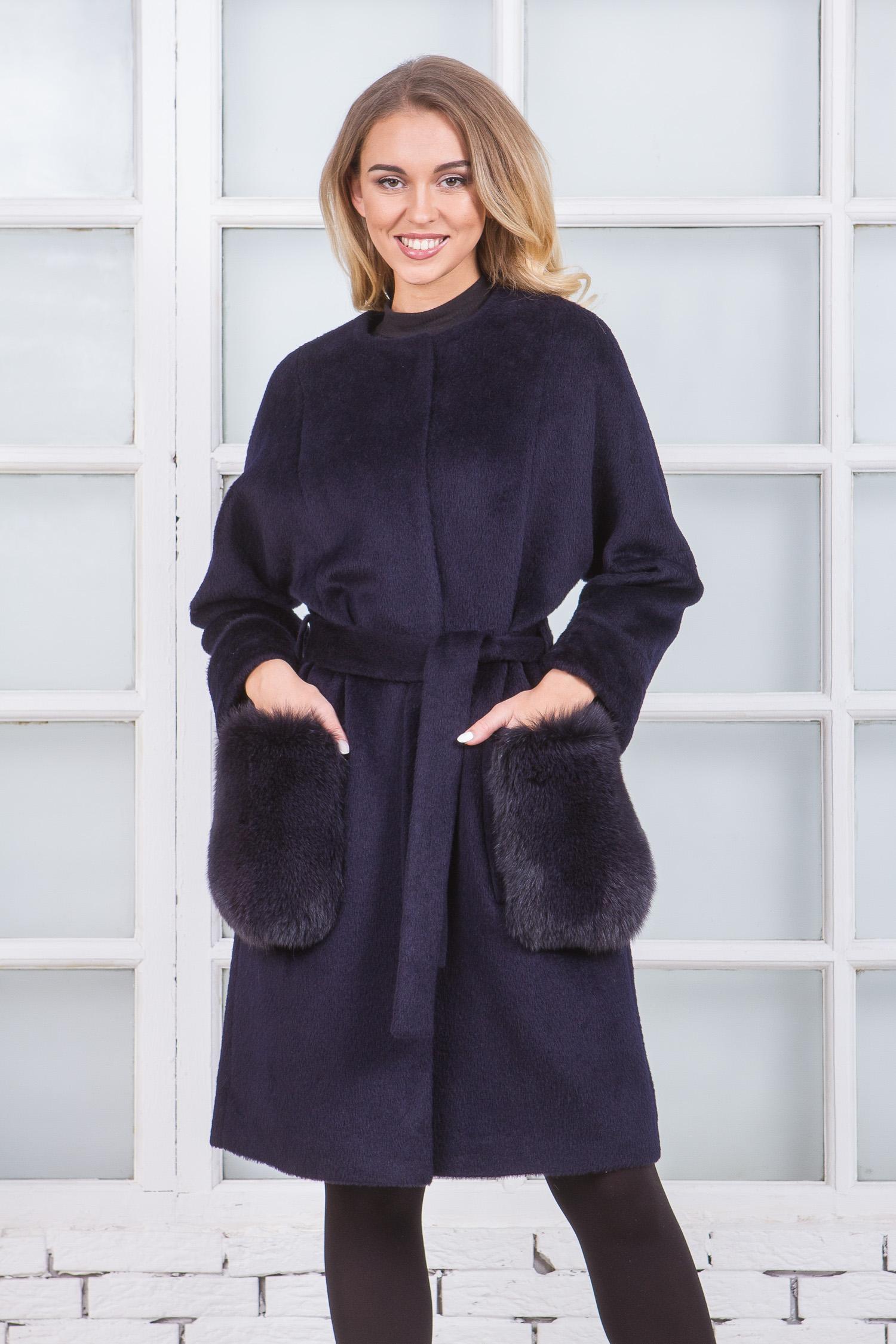 Купить со скидкой Женское пальто из текстиля без воротника, отделка песец
