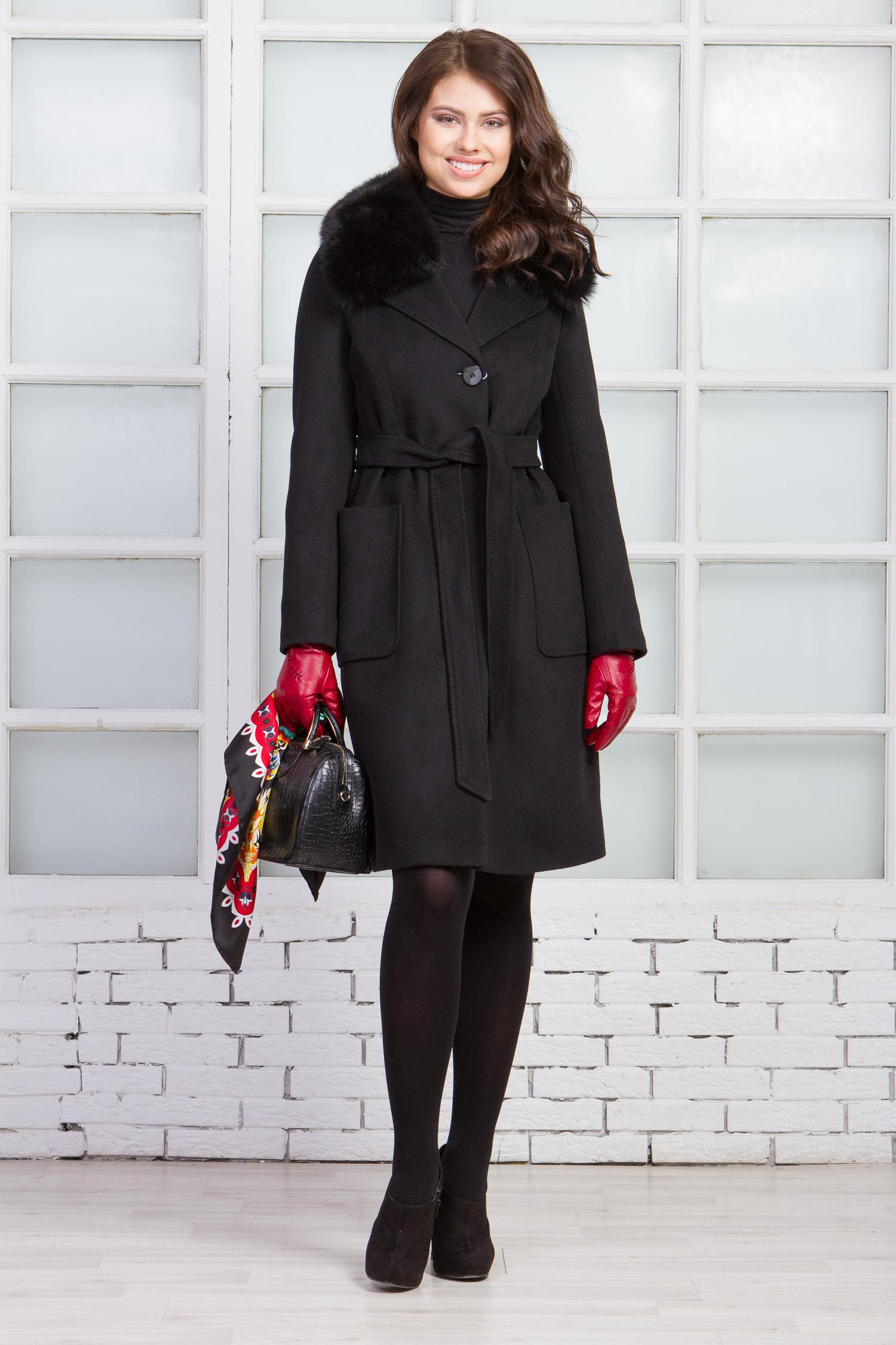 Женское пальто из текстиля с воротником, отделка песец