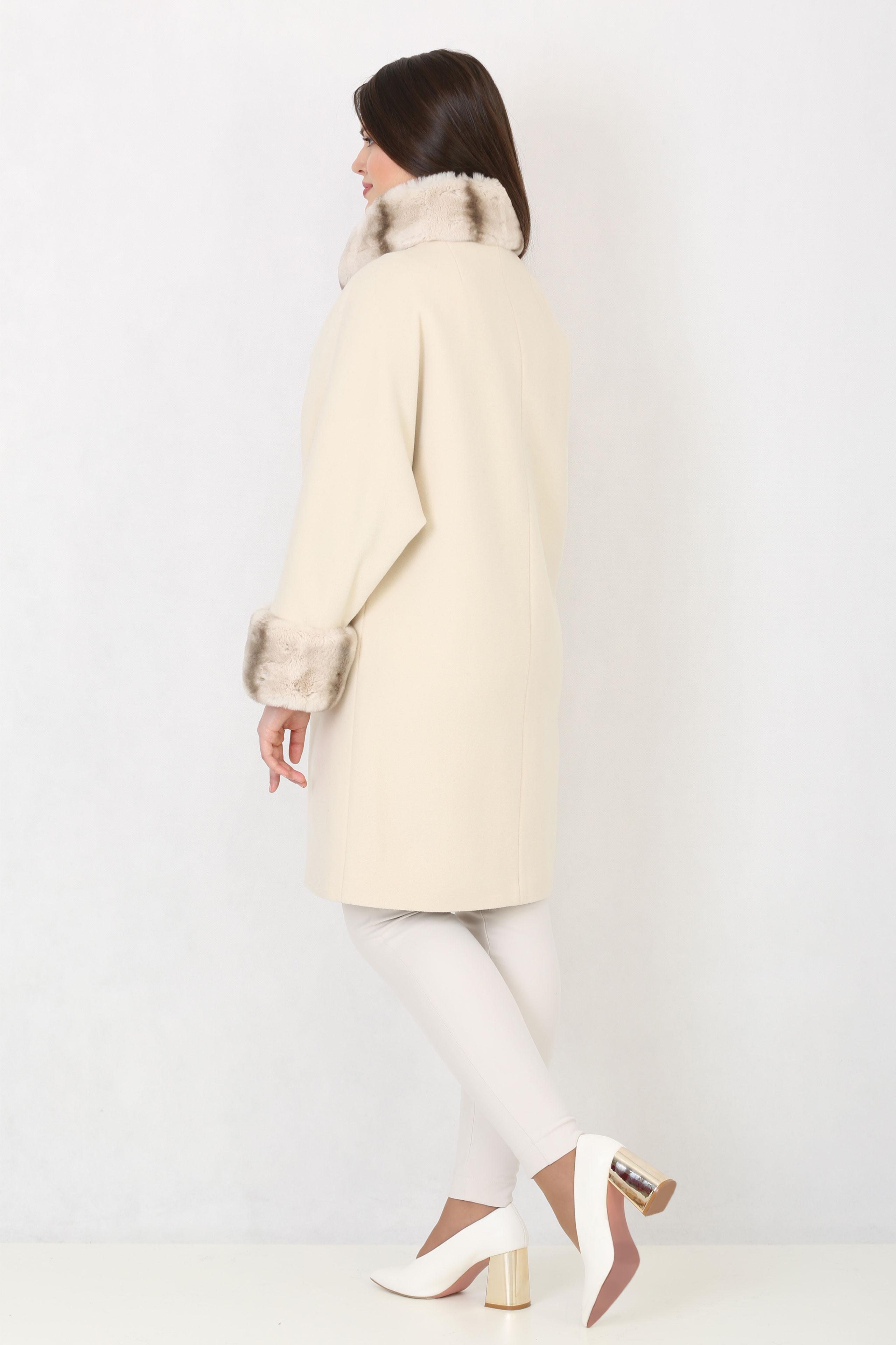 Женское пальто из текстиля с воротником, отделка кролик