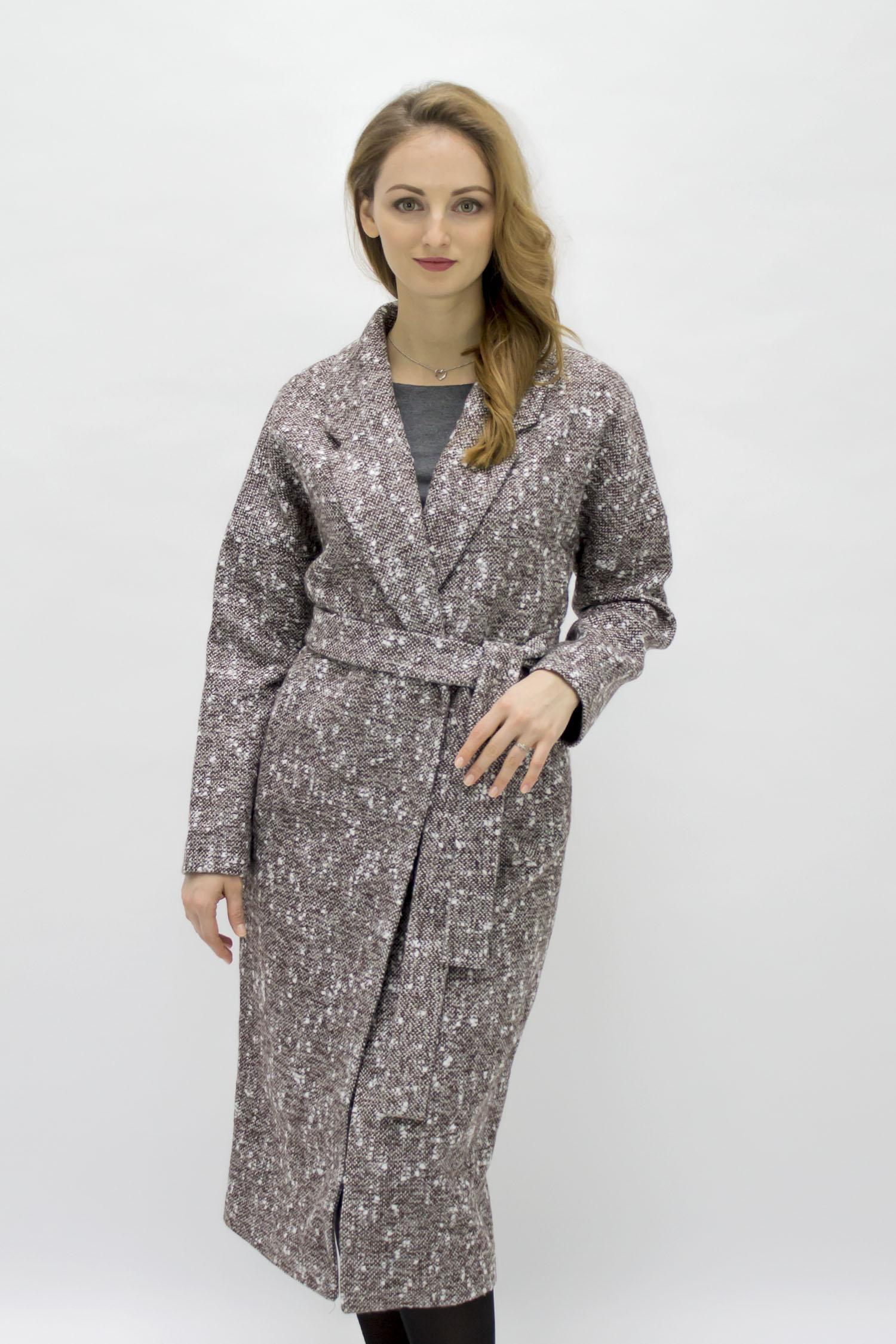 Женское пальто из текстиля с воротником, без отделки МОСМЕХА