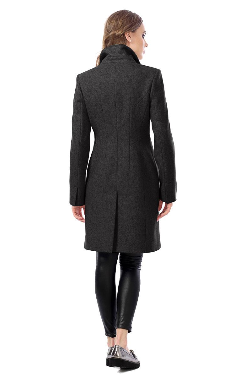 Женское пальто из текстиля с воротником, без отделки