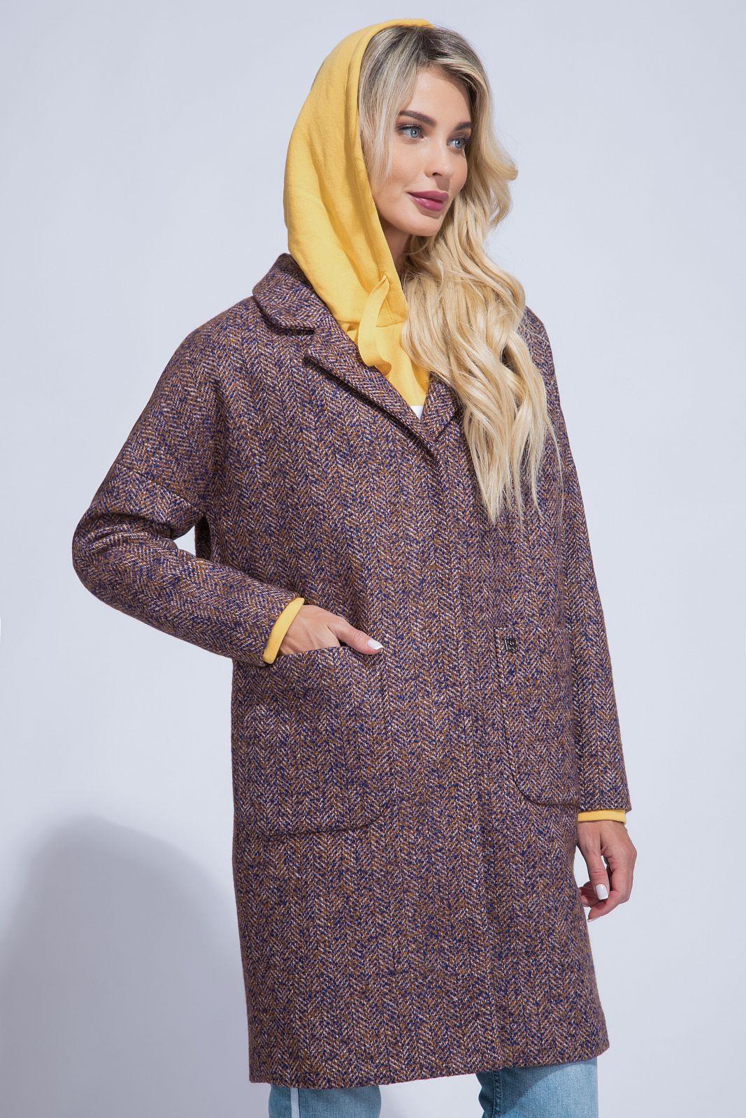 Женское пальто из текстиля с воротником, МОСМЕХА