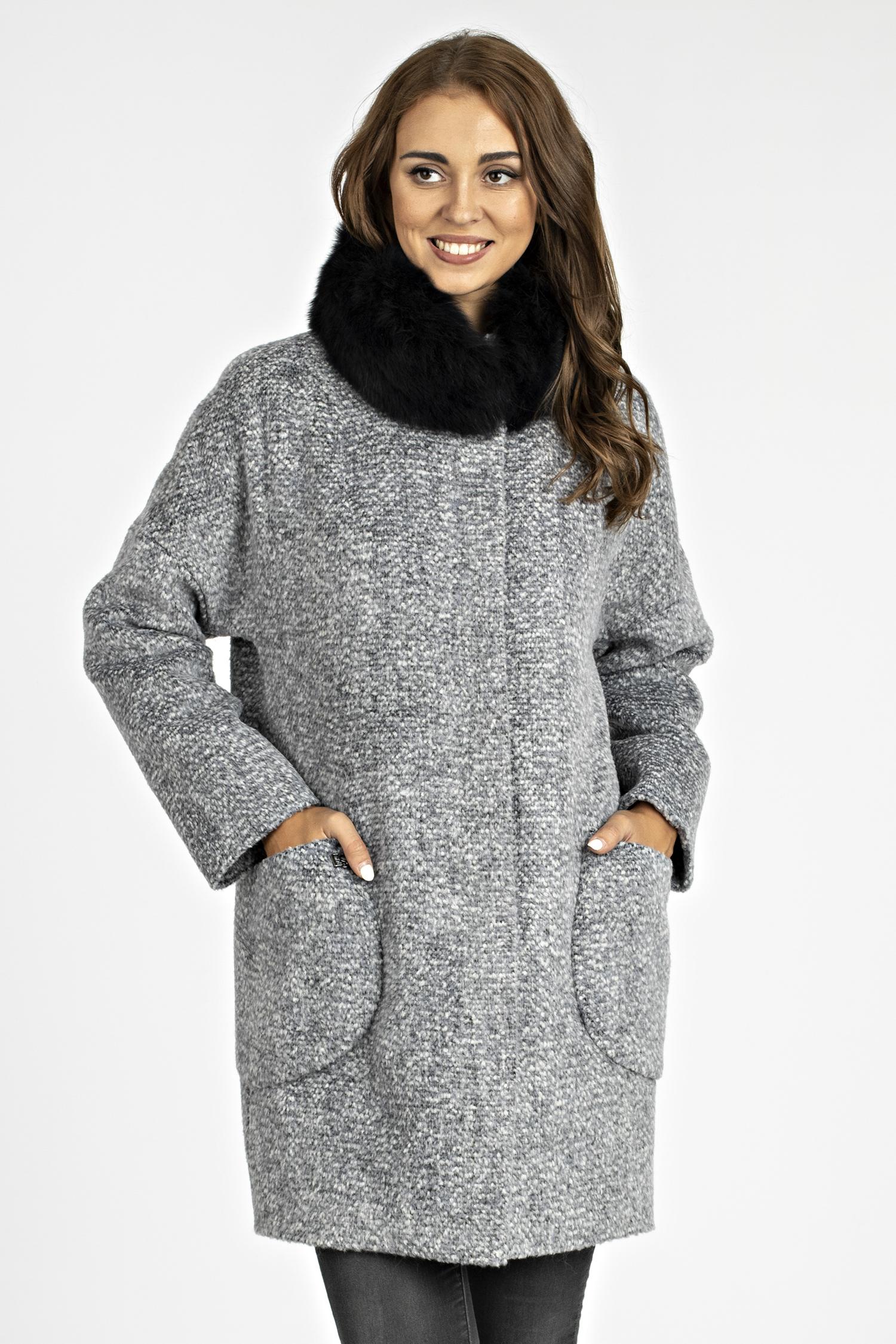 Женское пальто из текстиля с воротником, отделка песец МОСМЕХА