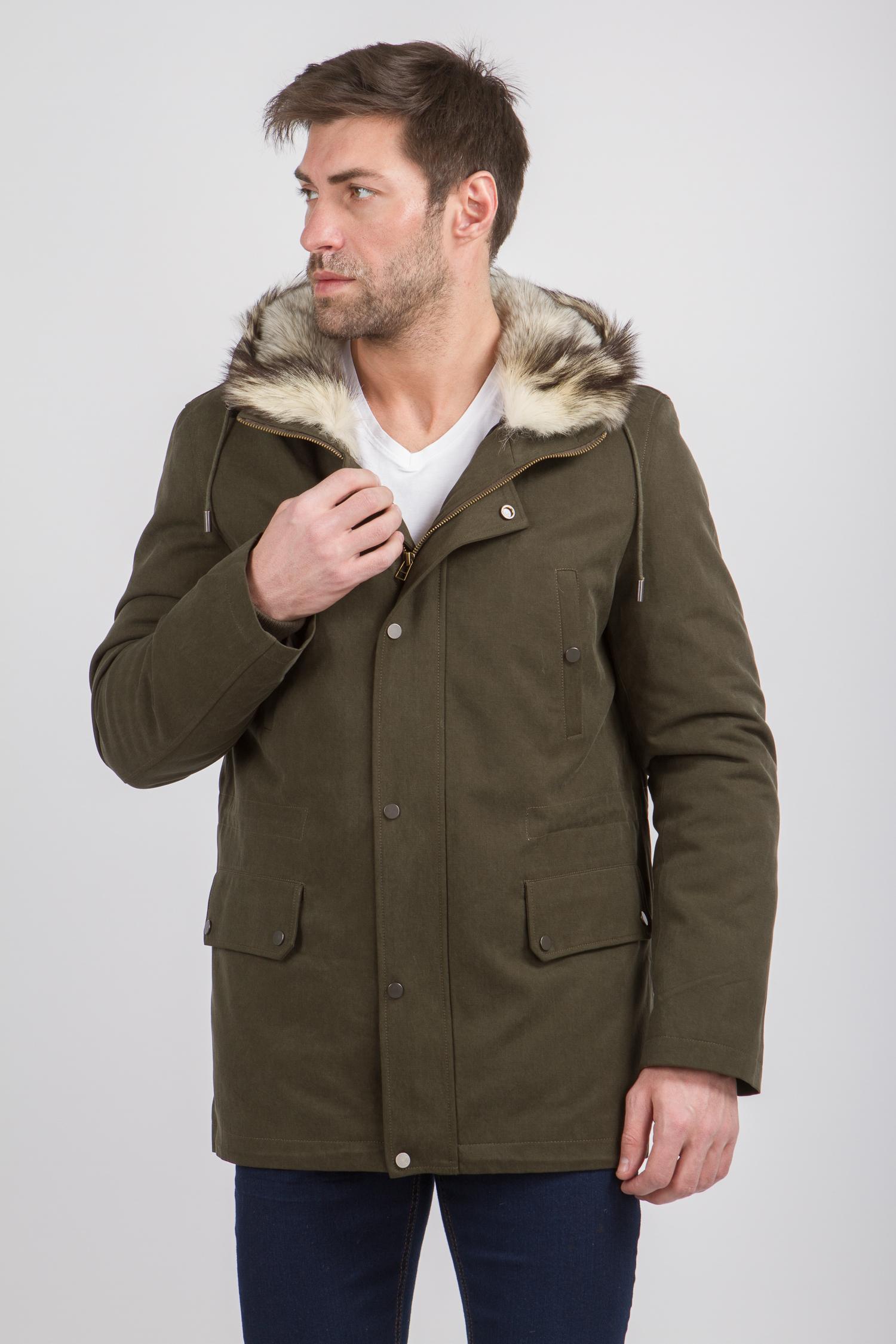Купить Парка мужская из текстиля с капюшоном, отделка енот, МОСМЕХА, зеленый, Хлопок, 4100012