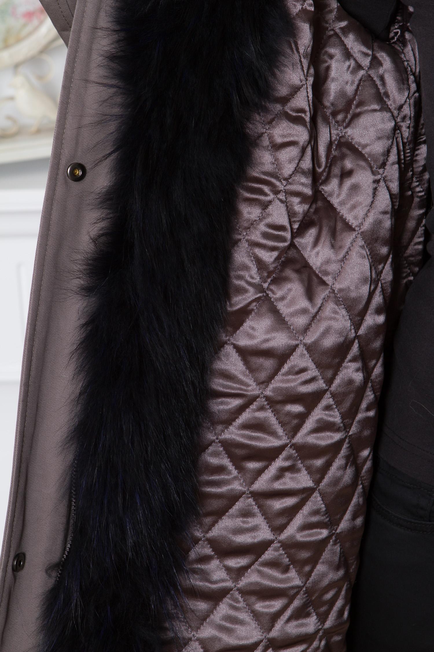 Парка женская из текстиля с капюшоном, отделка енот
