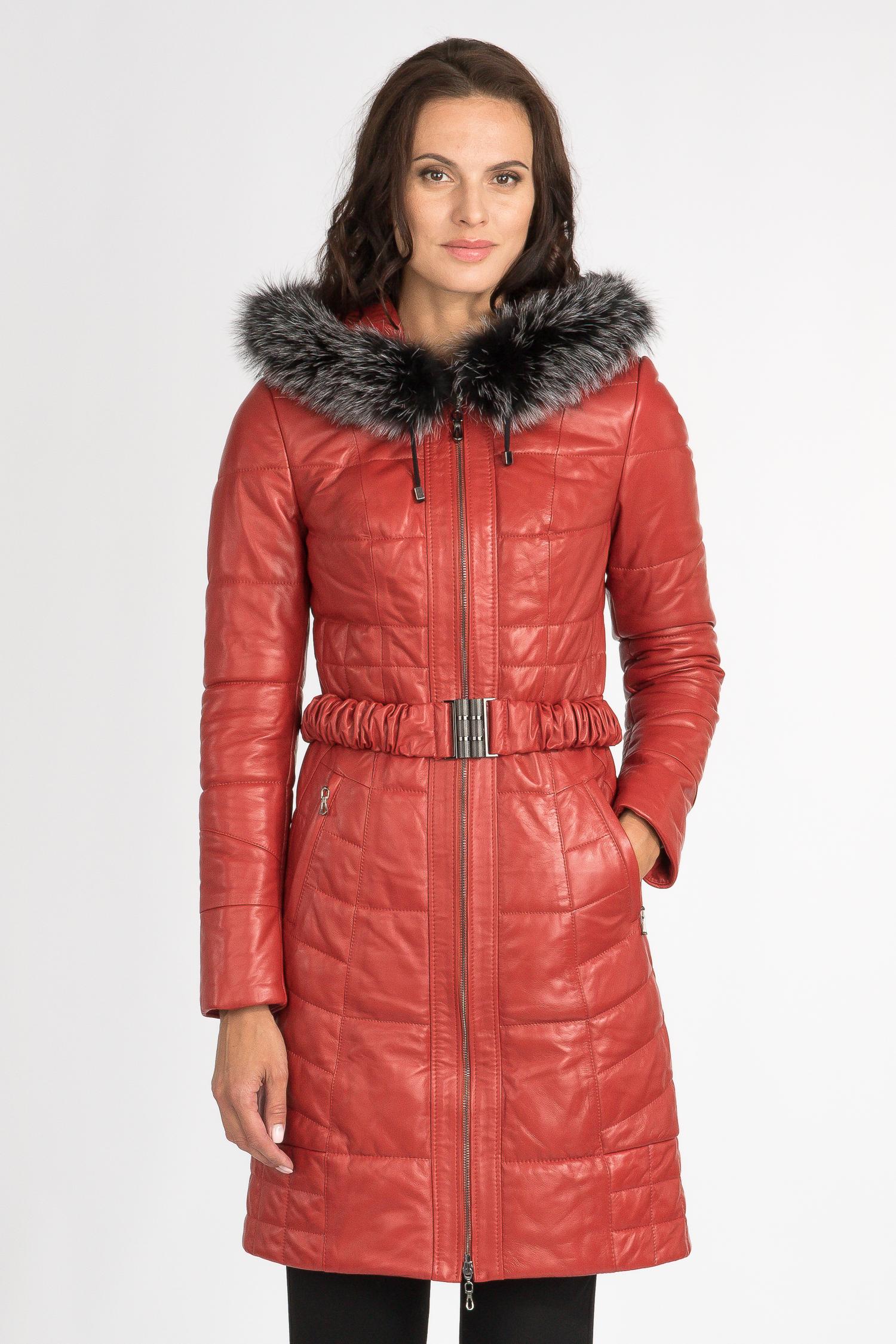 Купить Пуховик женский из натуральной кожи с капюшоном, отделка блюфрост, МОСМЕХА, красный, Кожа овчина, 2100454