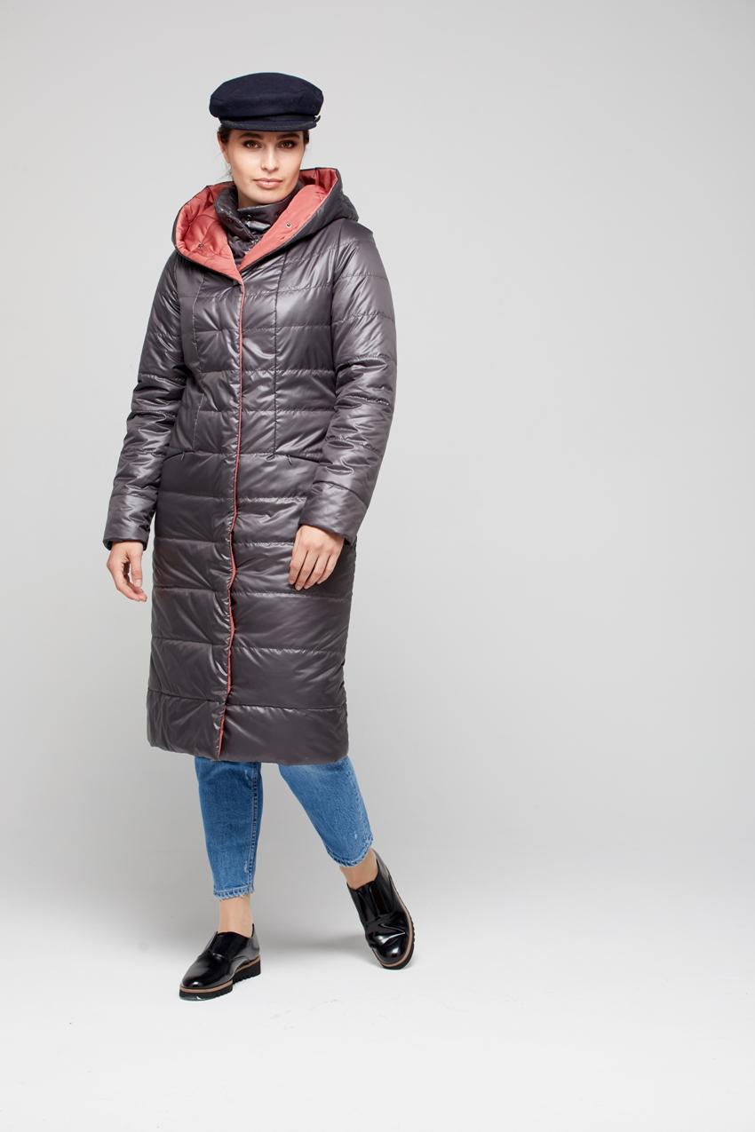 Пуховик женский из текстиля с капюшоном, без отделки МОСМЕХА