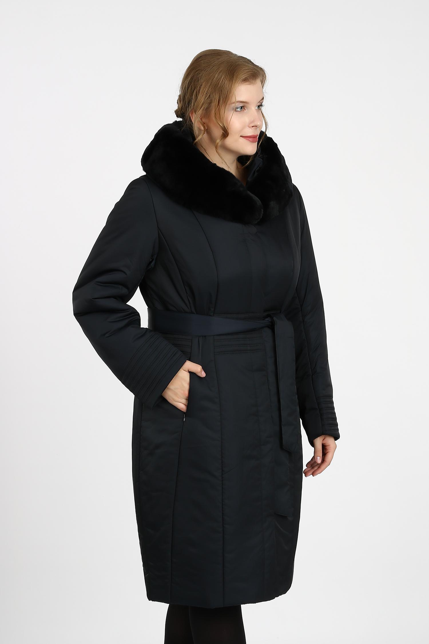 Купить со скидкой Пуховик женский из текстиля с капюшоном, отделка кролик